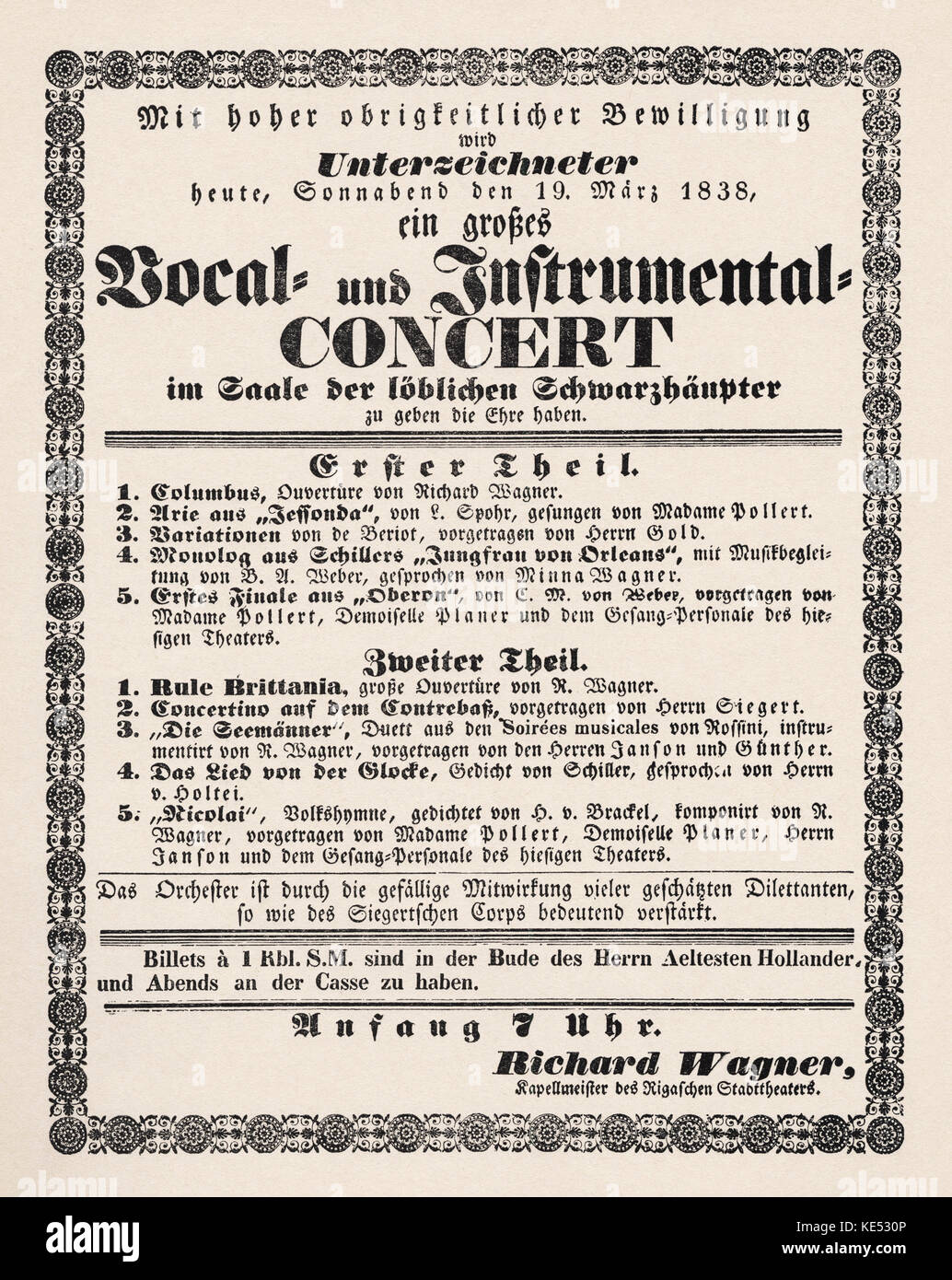 Programme for concert led by Richard Wagner in his role of Kapellmeister at the Riga Theatre, Latvia, on 19 March - Stock Image