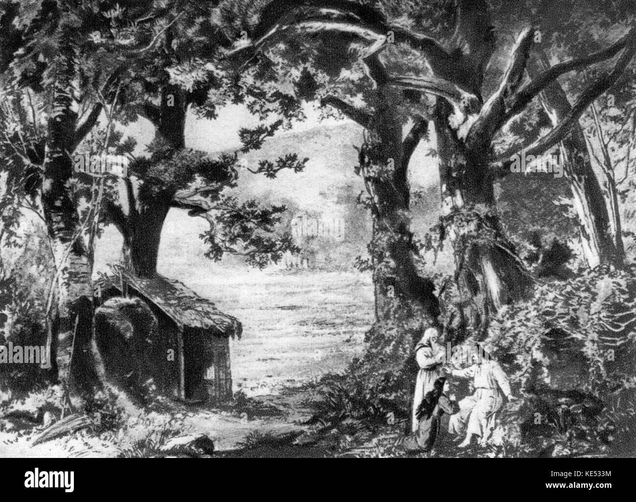 Scene from Richard Wagner 's opera Parsifal - original set design by Paul Joukowsky. RW: German composer, 22 - Stock Image