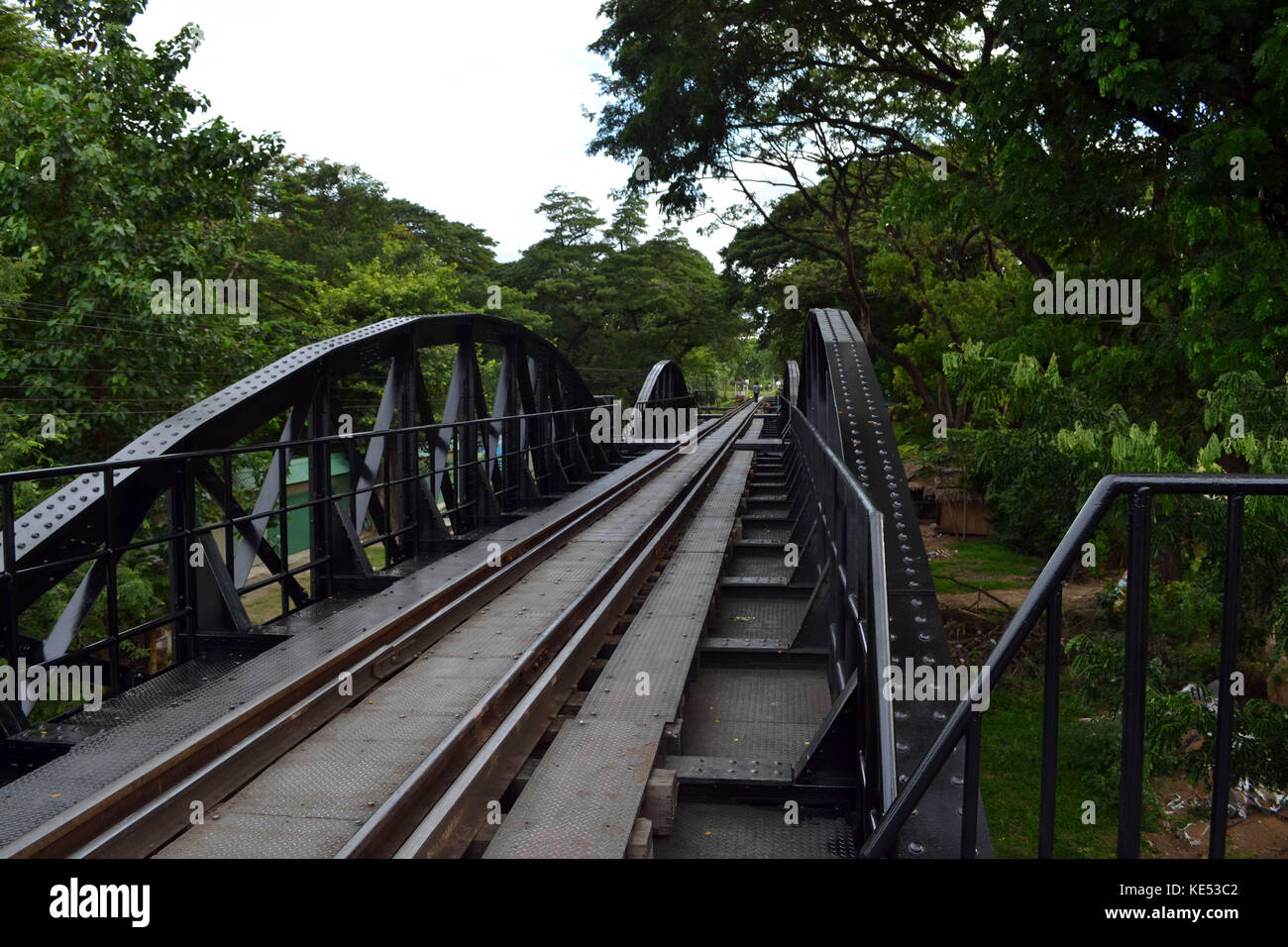 Closer walk to the famous sightseeing spots around Kanchanaburi, Thailand. This one is the infamous River Kwai Bridge. - Stock Image