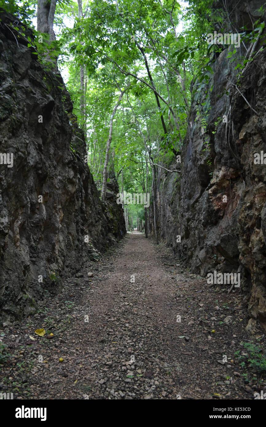 The memorial of Hellfire Pass as a part of Thailand-Burma Railway in Kanchanaburi, Thailand. It's reachable - Stock Image