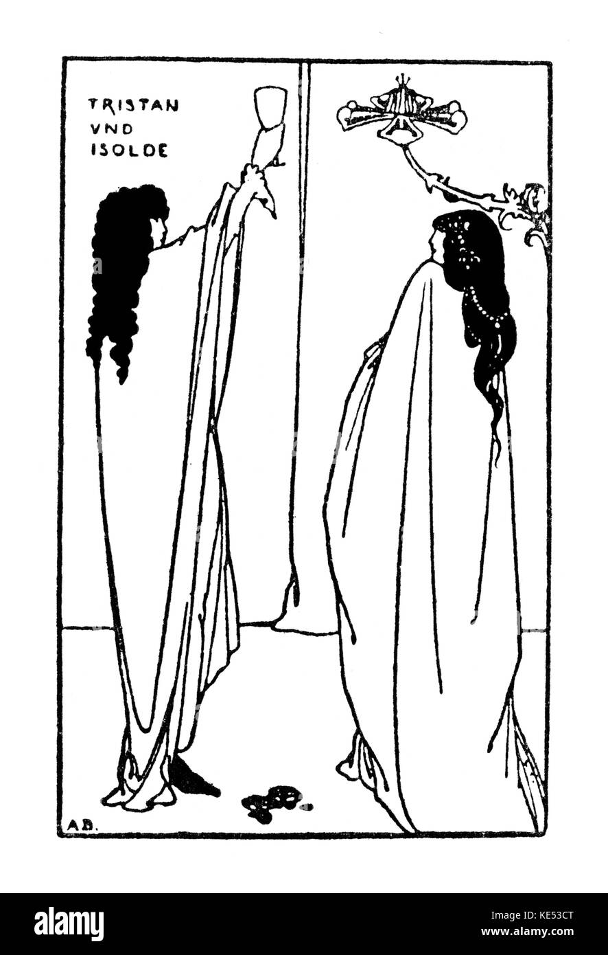 Richard Wagner 's Tristan und Isolde. Drawing by Aubrey Beardsley, 1896. RW:  German composer & author, - Stock Image