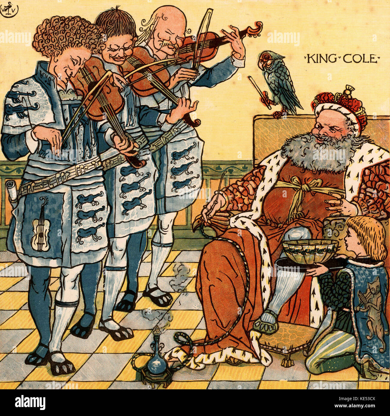 Old King Cole, nursery rhyme illustration (1877) by Walter Crane. English artist of Arts and Crafts movement, 15 - Stock Image