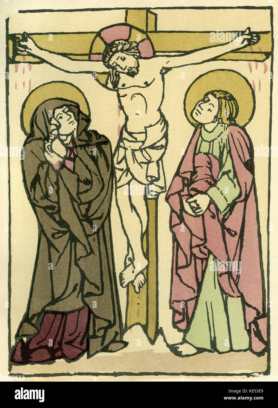 Crucifixion of Christ. The virgin Mary, right, and Mary Magdelene, see Jesus crucified.  Caption: 'Crucifixion - Stock Image