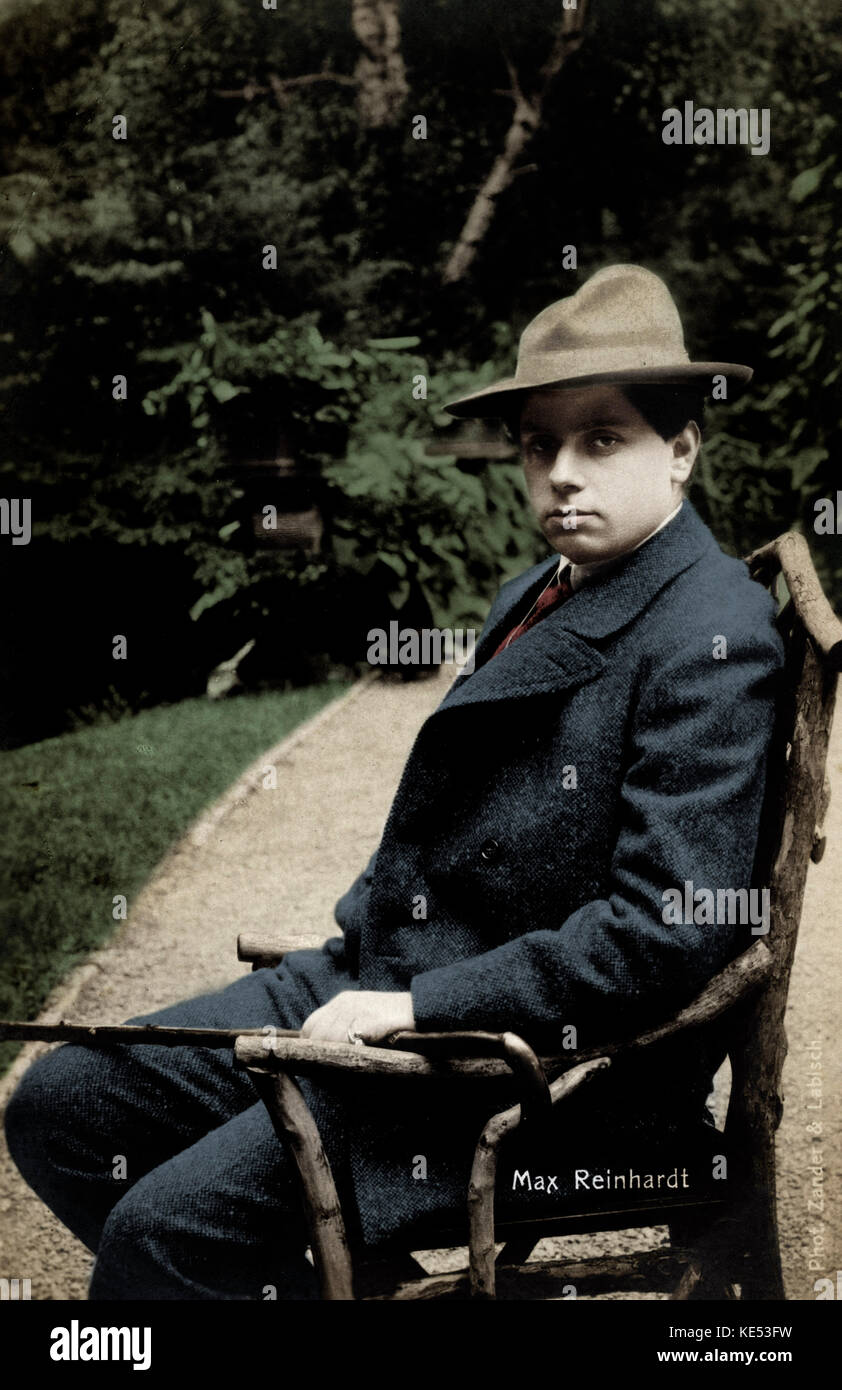 Max Reinhardt, portrait seated outdoors. Austrian-American director and actor. born in Baden 9 September  1873  - Stock Image
