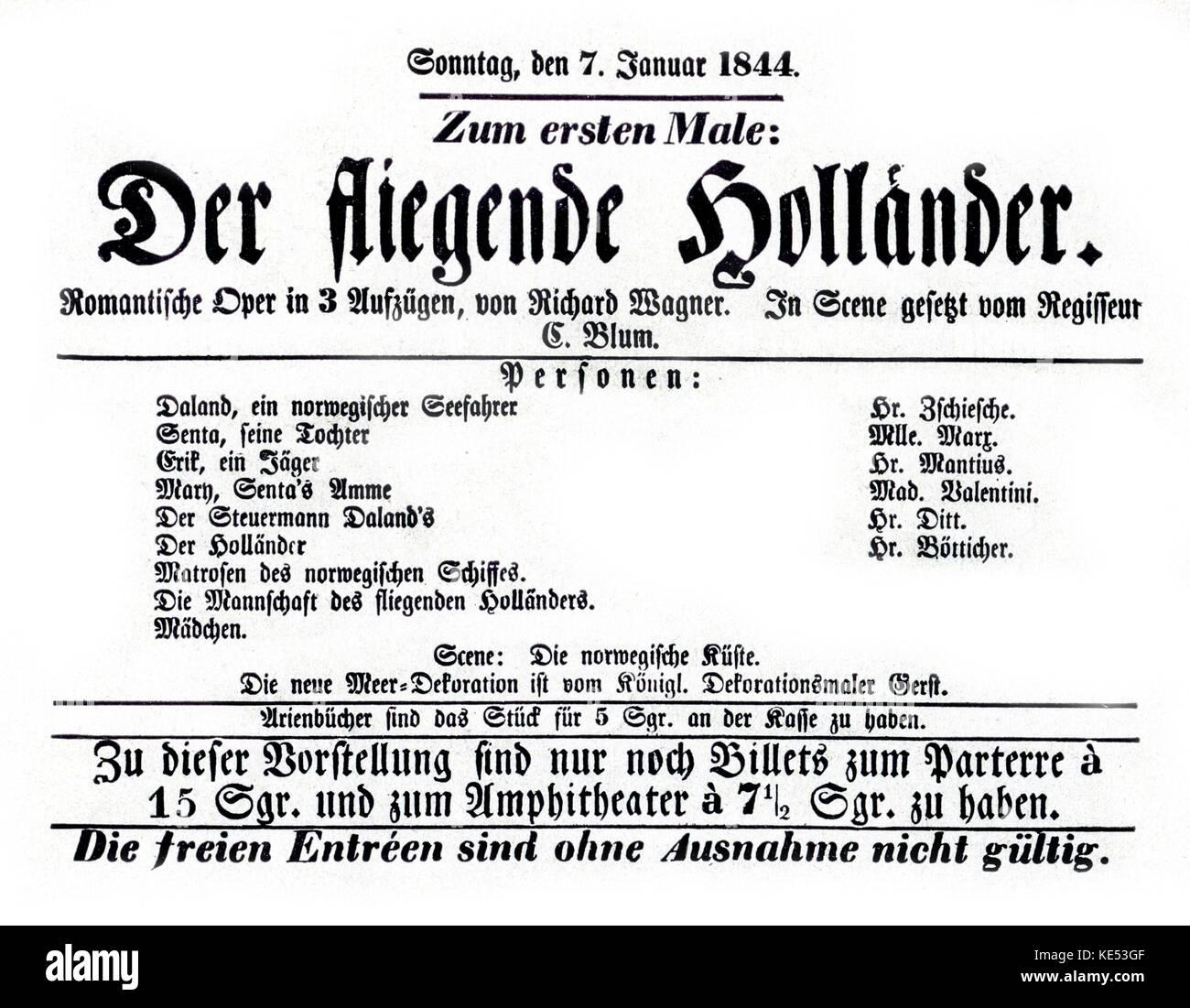 Flying Dutchman (Der fliegende Höllander) - opening night programme for the Berlin premiere on 7 January, 1844 - Stock Image