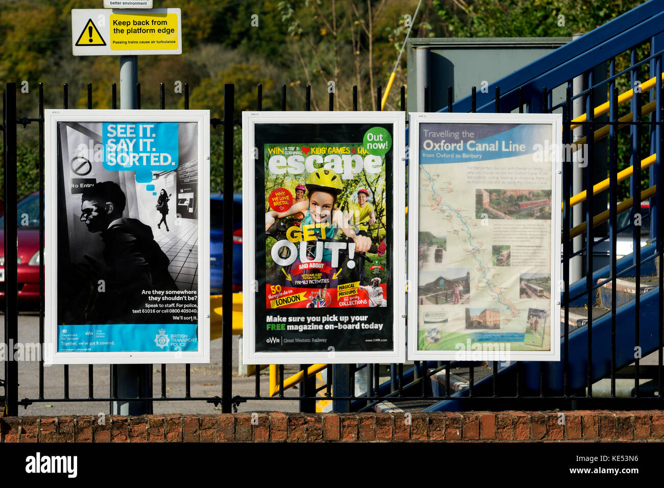 Posters at Heyford railway station, Oxfordshire, England, UK - Stock Image