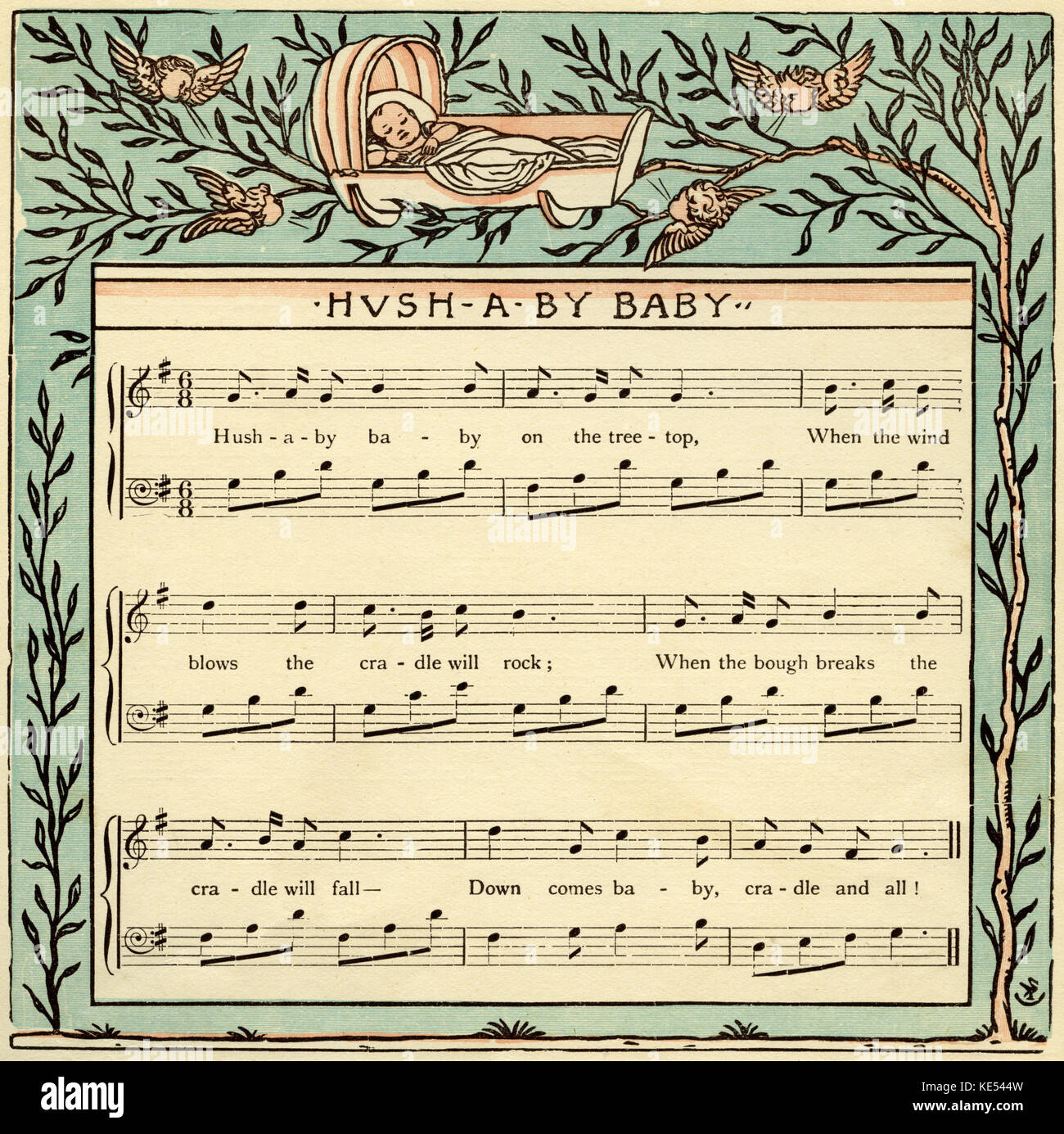 Hush a bye baby, nursery rhyme score, illustration (1877) by Walter Crane. English artist of Arts and Crafts movement, - Stock Image