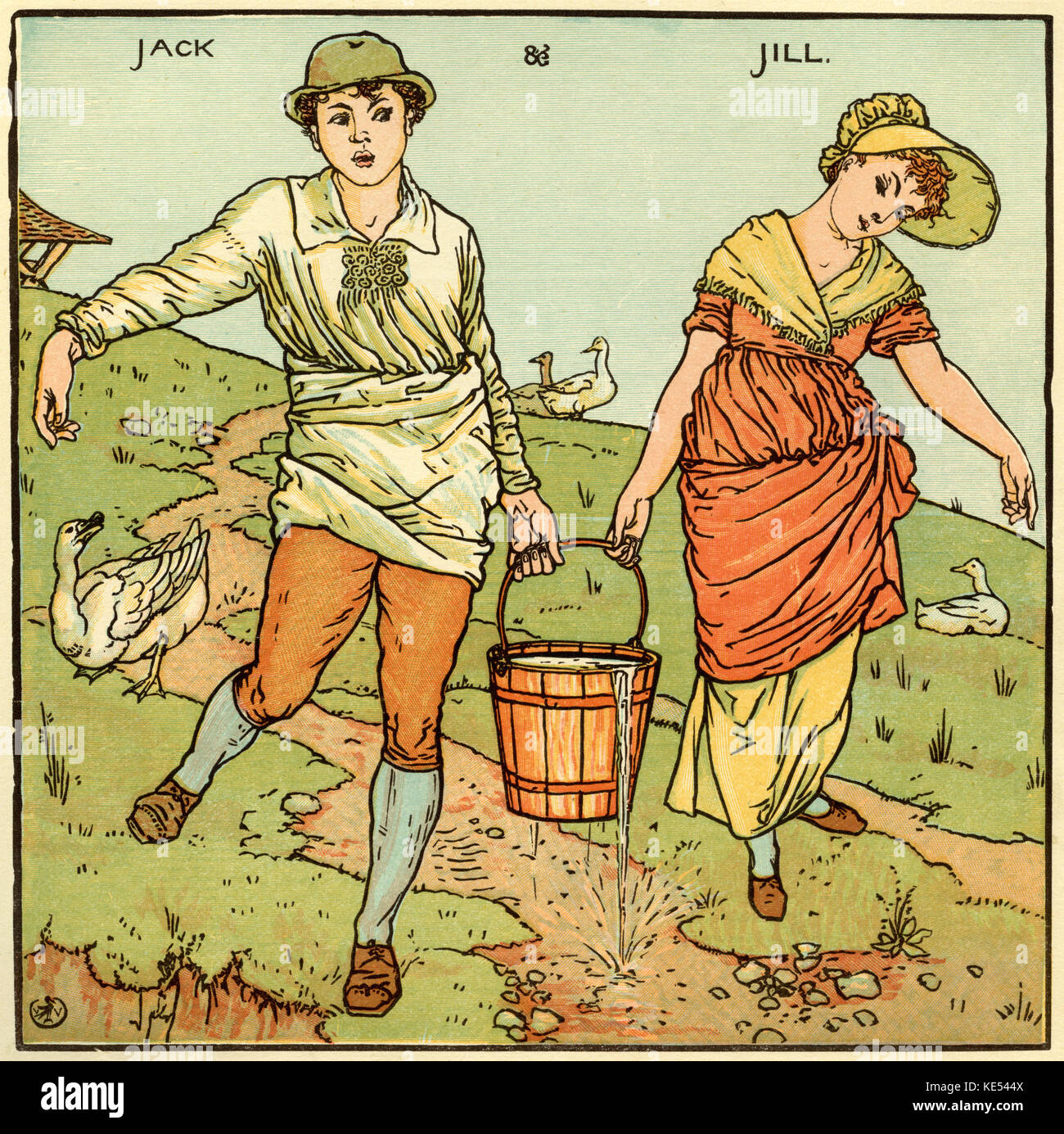 Jack and Jill, nursery rhyme, illustration (1877) by Walter Crane. English artist of Arts and Crafts movement, 15 - Stock Image