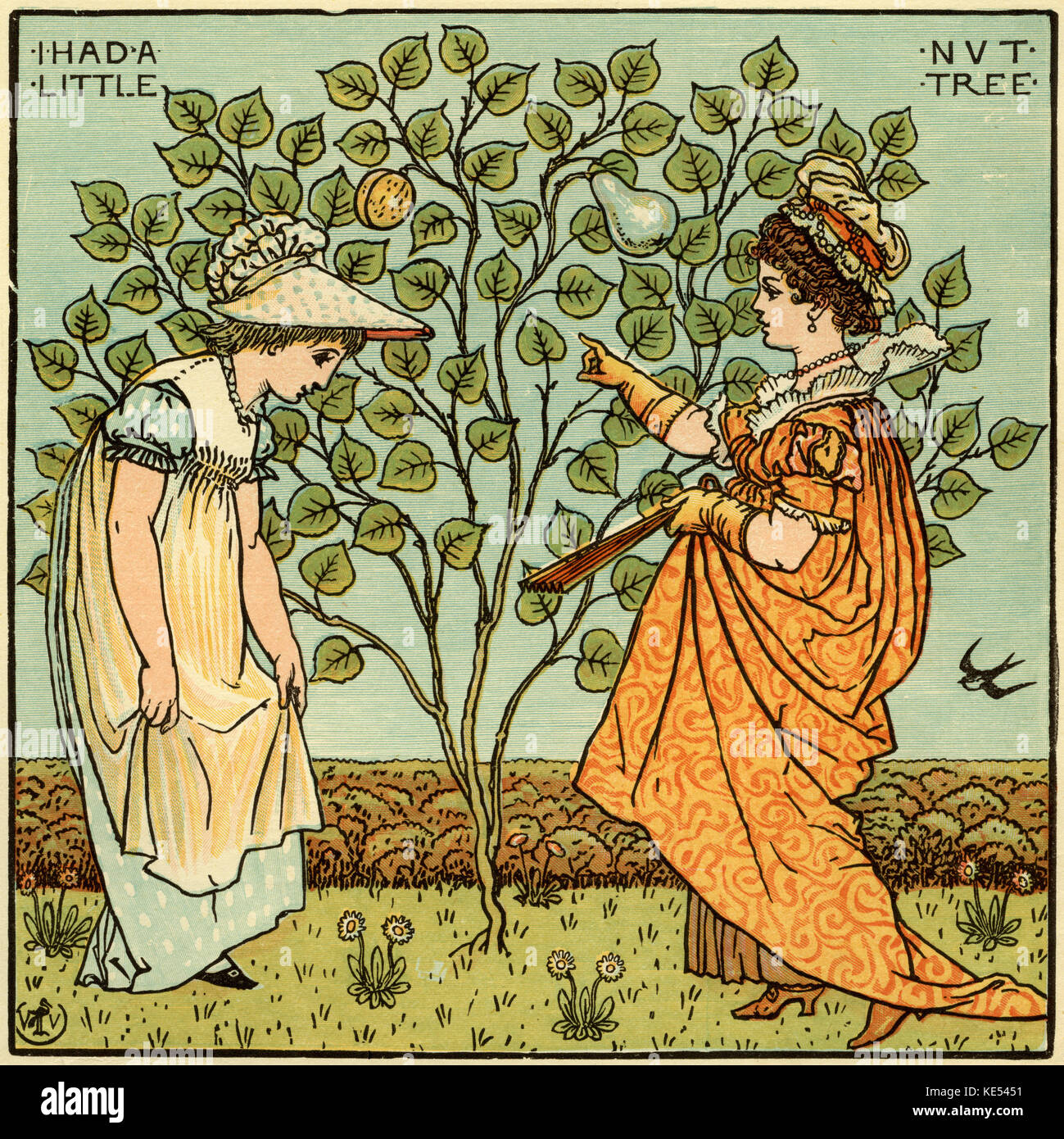 I had a little nut tree, nursery rhyme, illustration (1877) by Walter Crane. English artist of Arts and Crafts movement, - Stock Image