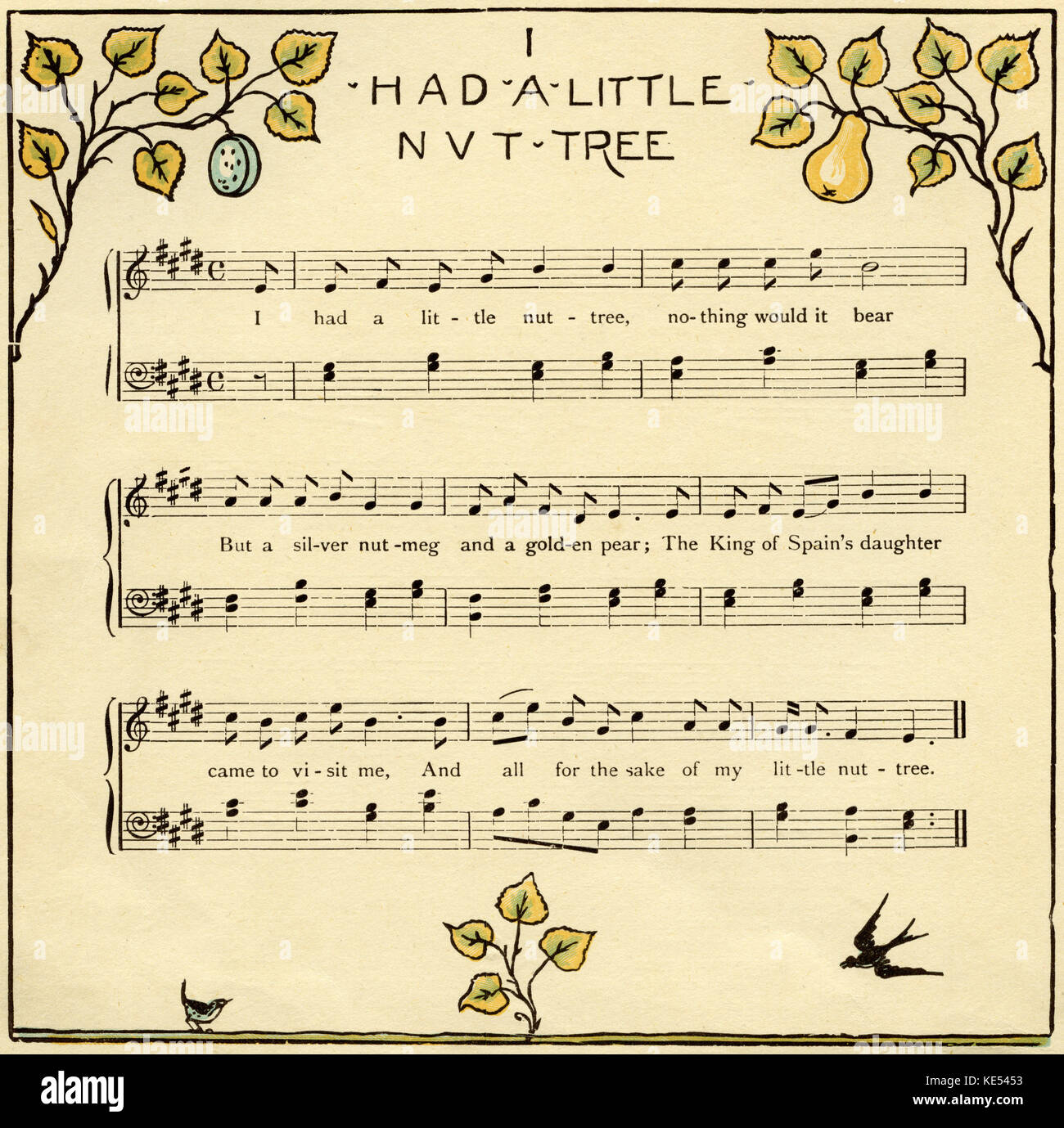 I had a little nut tree, nursery rhyme score, illustration (1877) by Walter Crane. English artist of Arts and Crafts - Stock Image