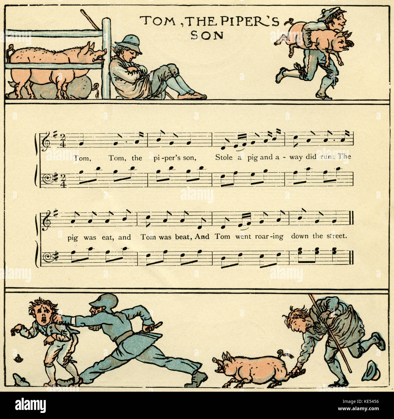 Tom, the piper's son, nursery rhyme score, illustration (1877) by Walter Crane. English artist of Arts and Crafts - Stock Image