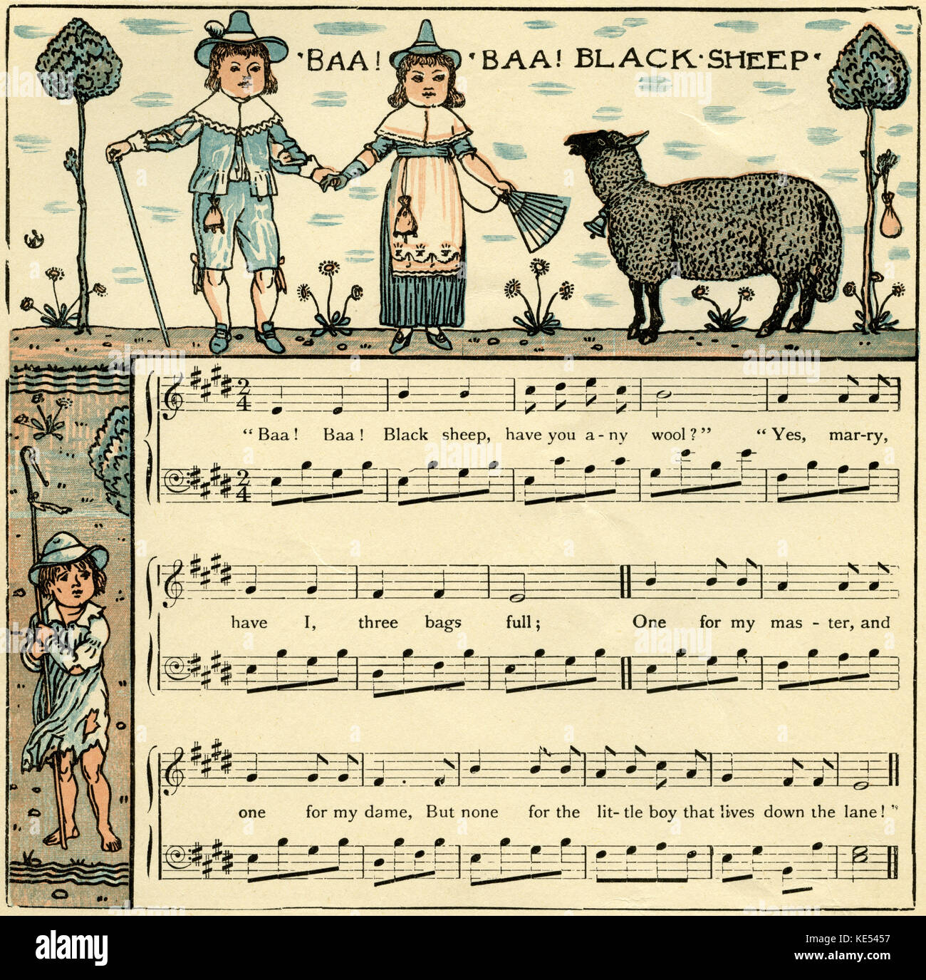 Baa, baa, black sheep, nursery rhyme score, illustration (1877) by Walter Crane. English artist of Arts and Crafts - Stock Image