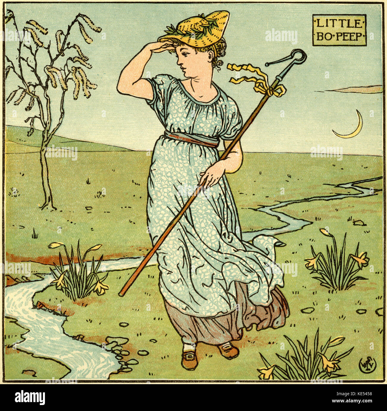 Little Bo Peep, nursery rhyme, illustration (1877) by Walter Crane. English artist of Arts and Crafts movement, - Stock Image