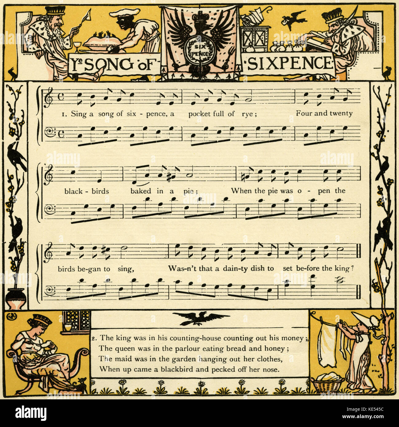 Song of sixpence,( Sing a song of sixpence, a pocket full of rye) nursery rhyme score, illustration (1877) by Walter - Stock Image