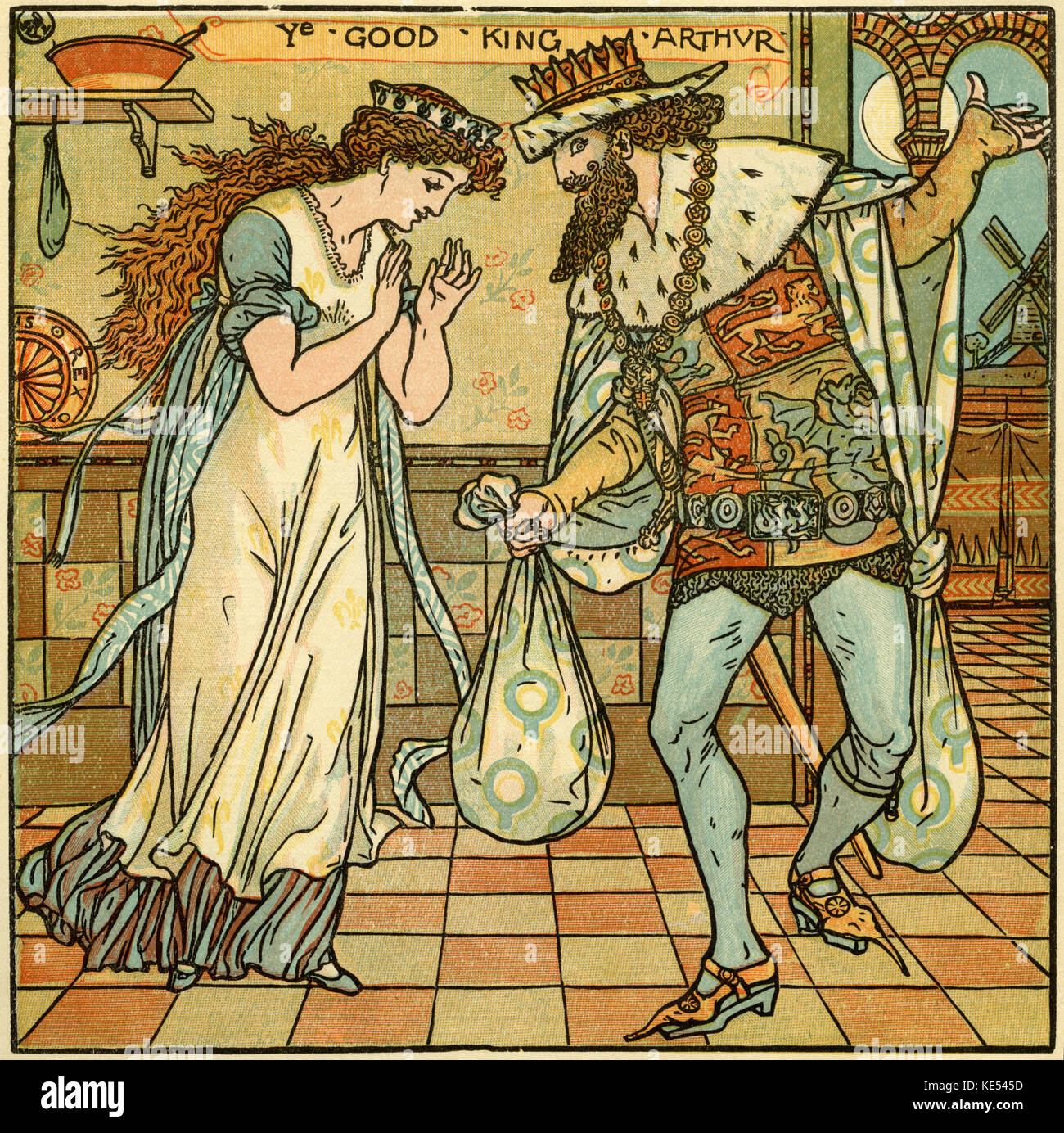 Good King Arthur,(When Good King Arthur ruled this land,)  nursery rhyme, illustration (1877) by Walter Crane. English - Stock Image