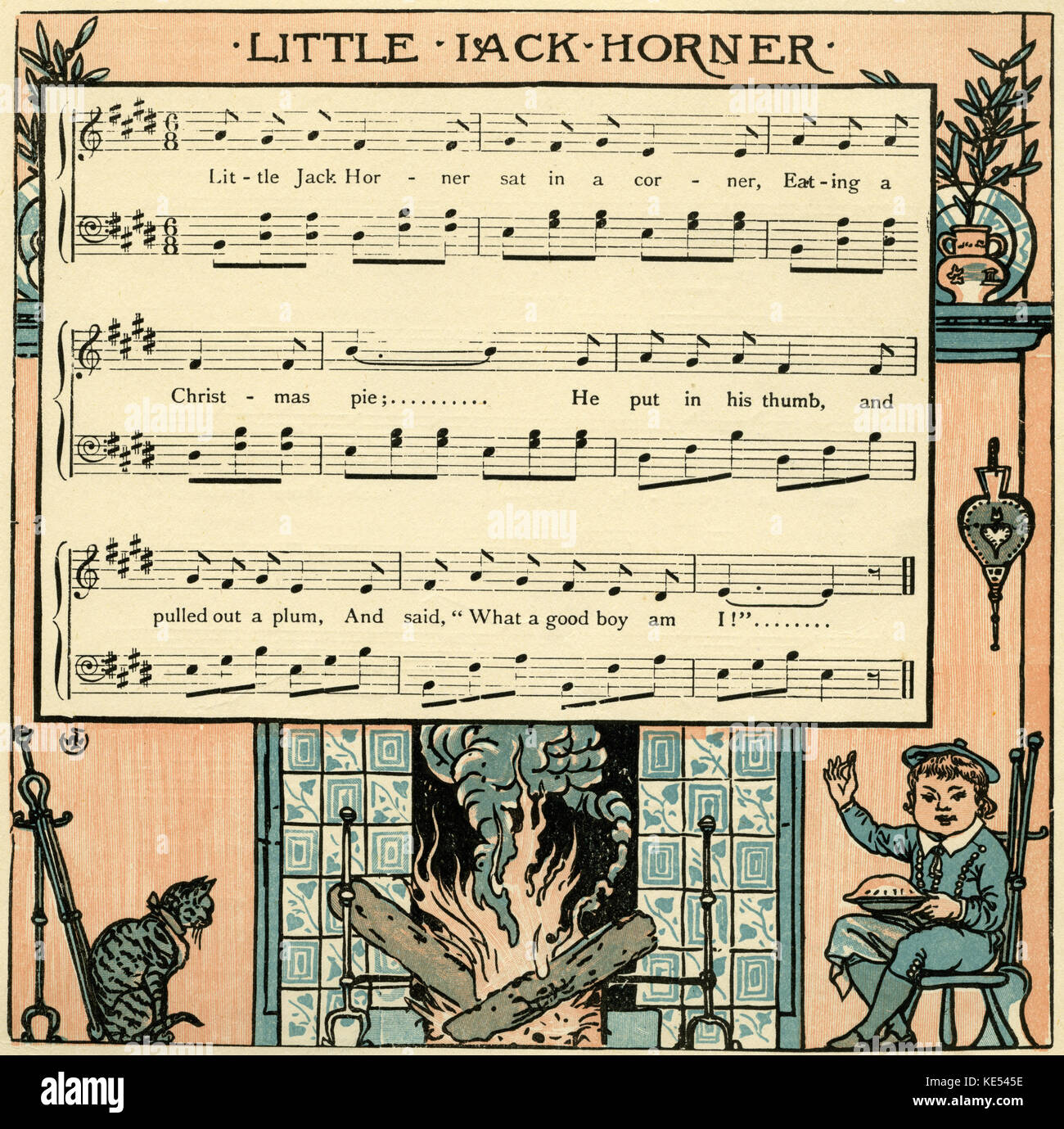 Litte Jack Horner, nursery rhyme score, illustration (1877) by Walter Crane. English artist of Arts and Crafts movement, - Stock Image