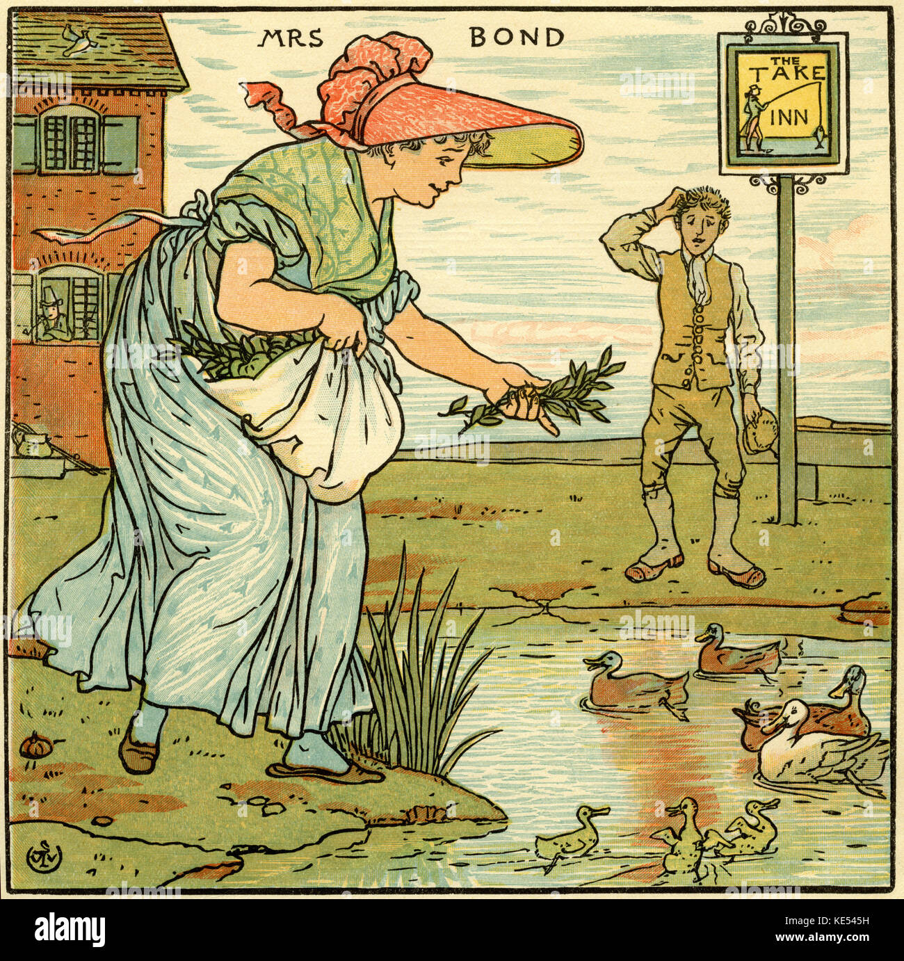 Mrs Bond, nursery rhyme, illustration (1877) by Walter Crane. English artist of Arts and Crafts movement, 15 August - Stock Image