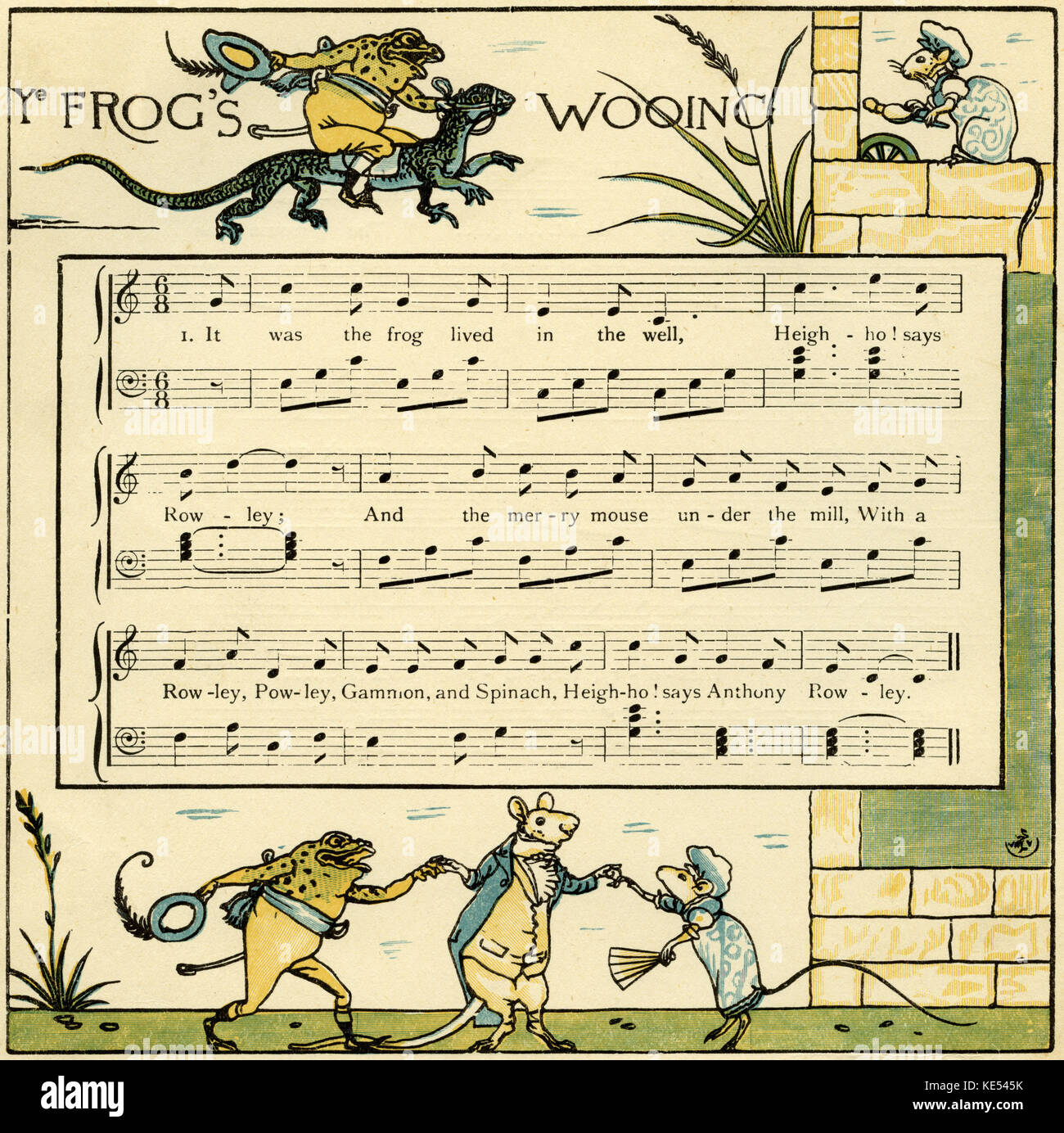 The frog's wooing, nursery rhyme score , illustration (1877) by Walter Crane. English artist of Arts and Crafts - Stock Image