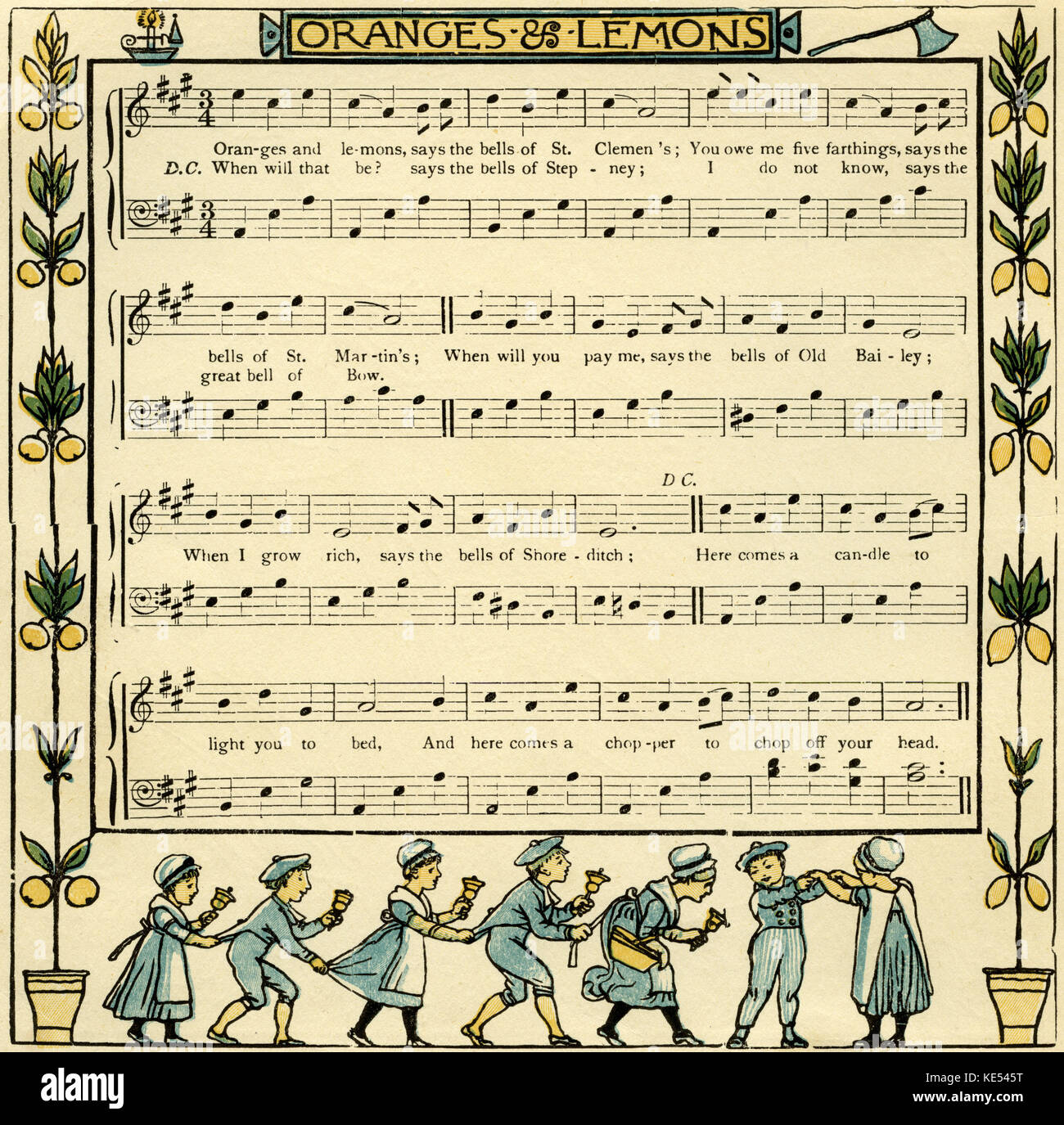Oranges and lemons, nursery rhyme illustration (1877) by Walter Crane. English artist of Arts and Crafts movement, - Stock Image