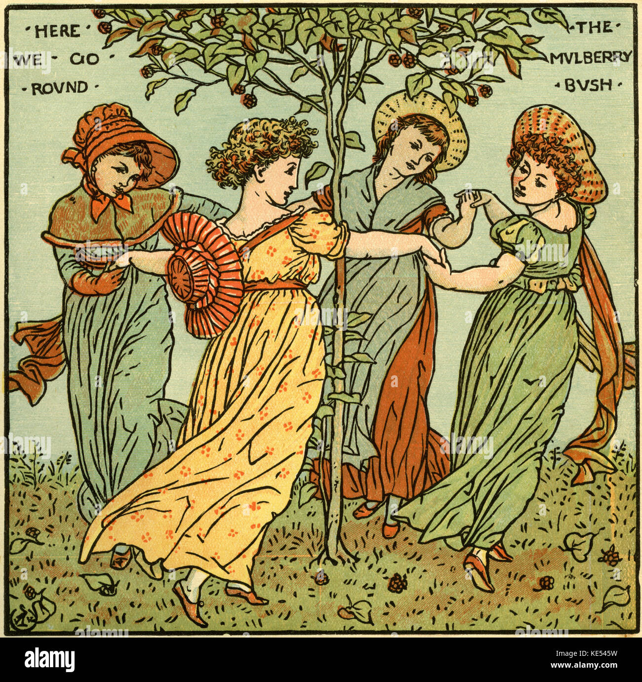 The mulberry bush, nursery rhyme illustration (1877) by Walter Crane. English artist of Arts and Crafts movement, - Stock Image