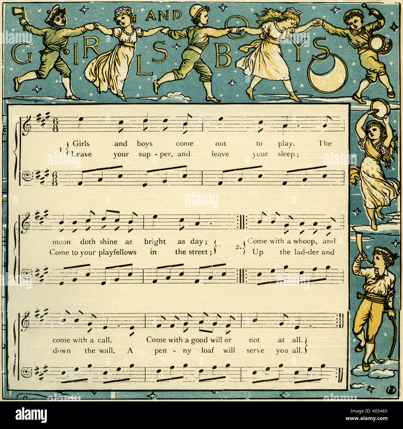 Girls and boys come out to play, nursery rhyme illustration (1877) by Walter Crane. English artist of Arts and Crafts - Stock Image