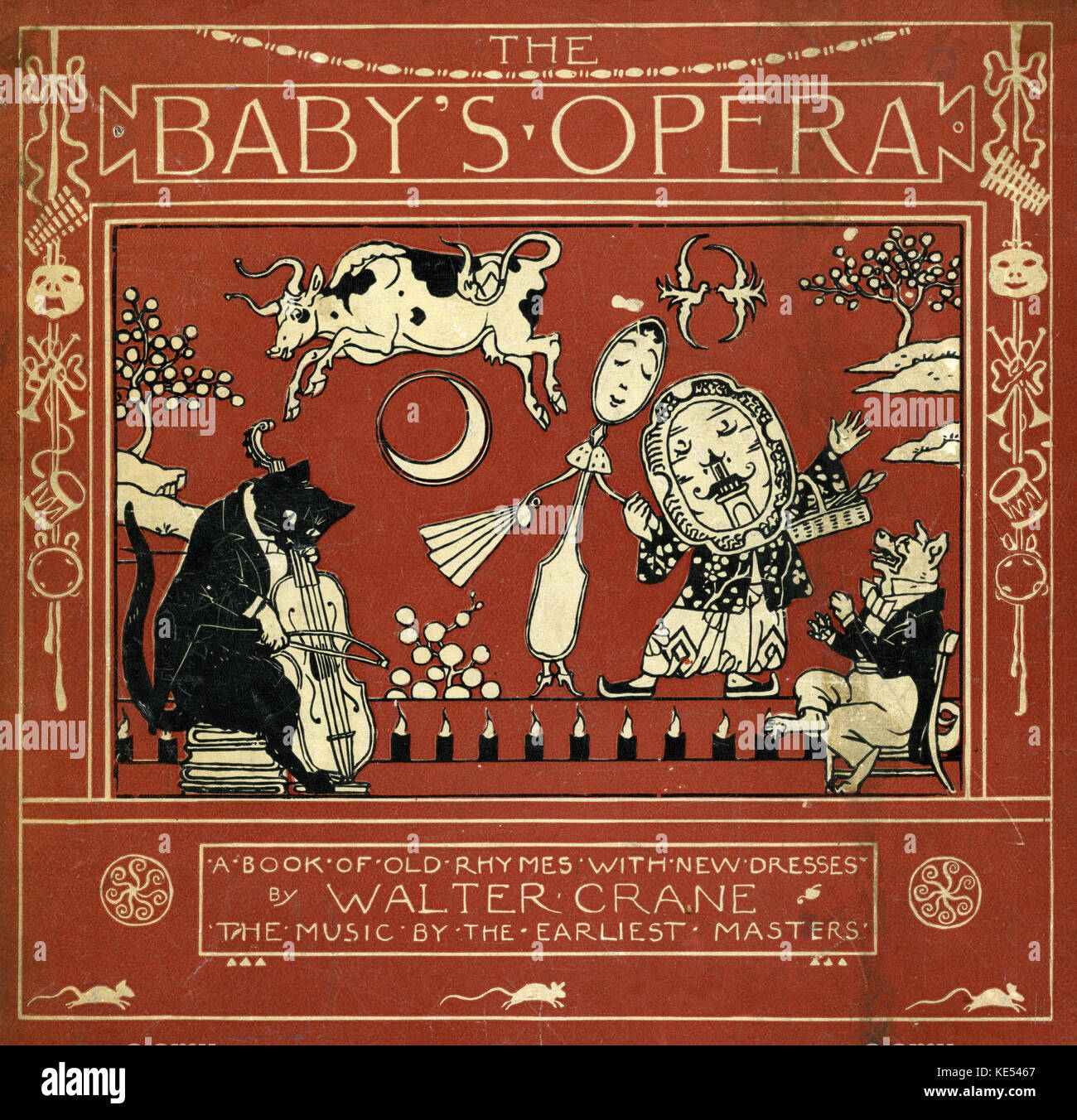 The Baby's Opera by Walter Crane. First published in 1877. Front cover shows the nursery rhyme 'Hey diddle - Stock Image
