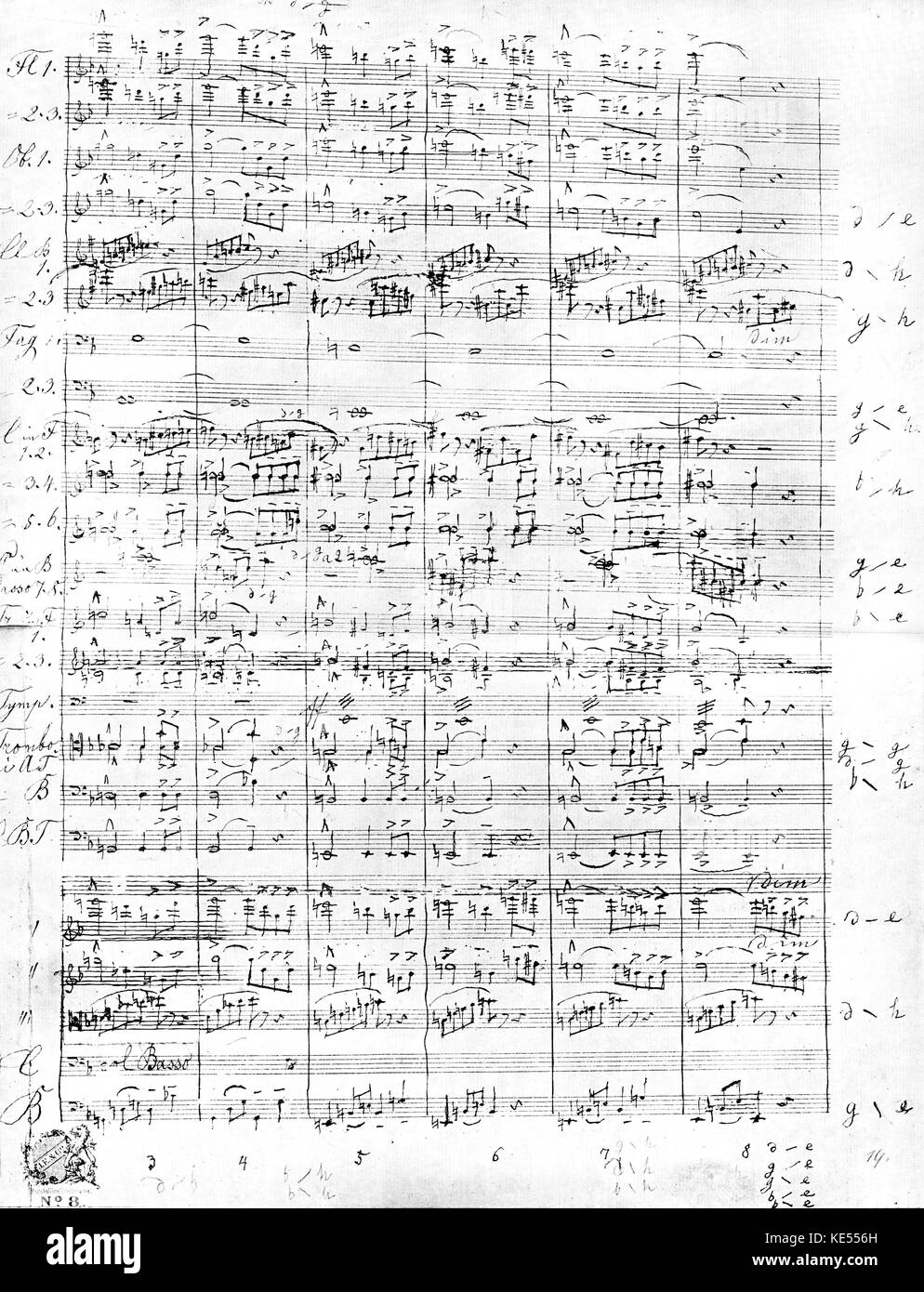 Anton Bruckner -   9th / Ninth Symphony score page  in his handwriting.      Austrian composer & organist, 4 - Stock Image