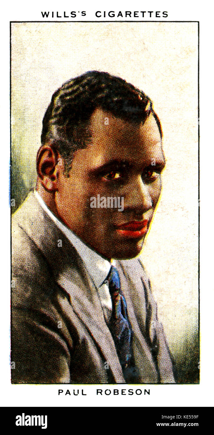 Paul Robeson. Afro-American actor, singer and writer, 9 April 1898 - 23 January 1976. (Wills's cigarette card) - Stock Image