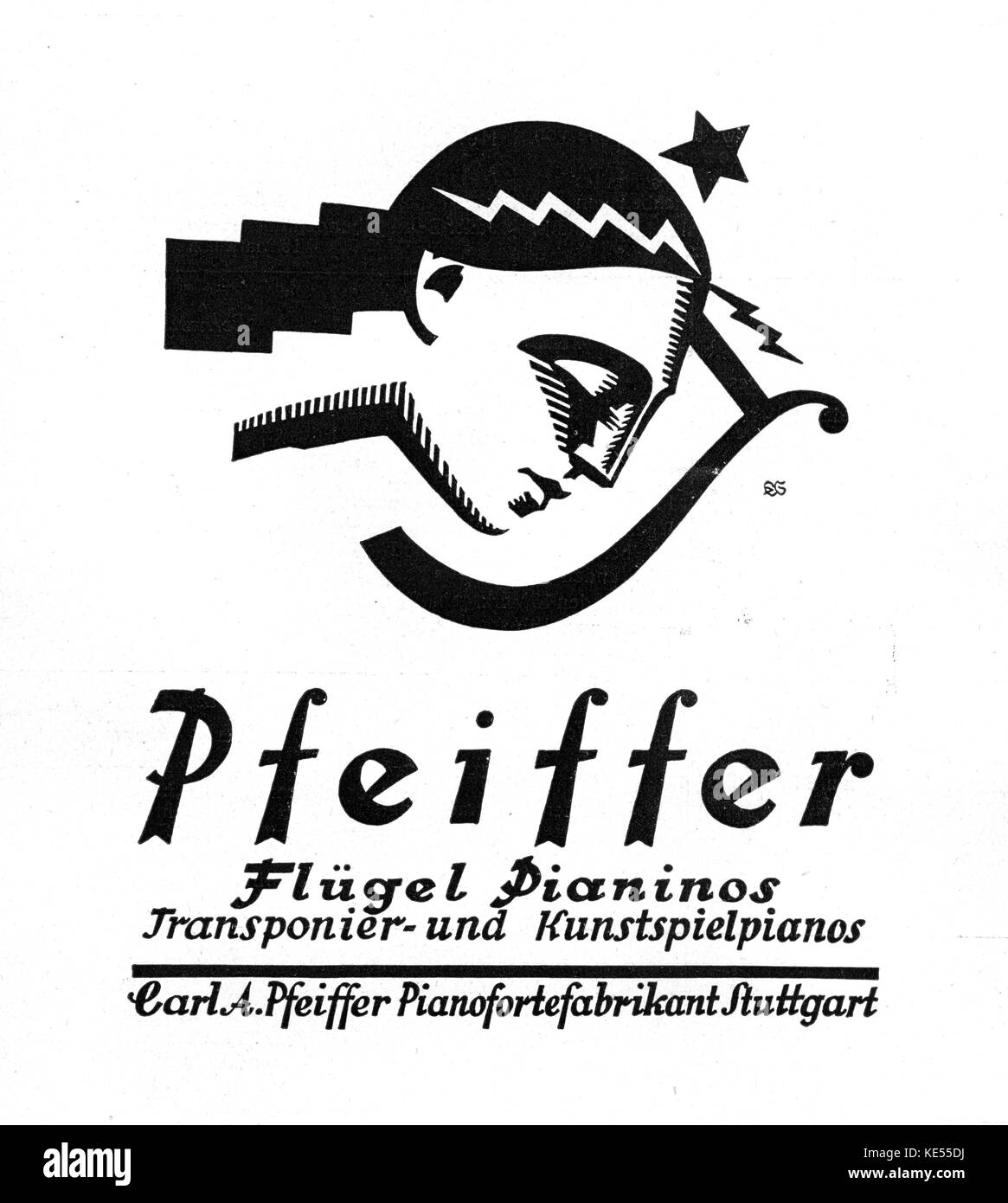 Grand piano advertisement for Pfeiffer with lyre and girl in profile.  Stuttgart August 1923. Stock Photo