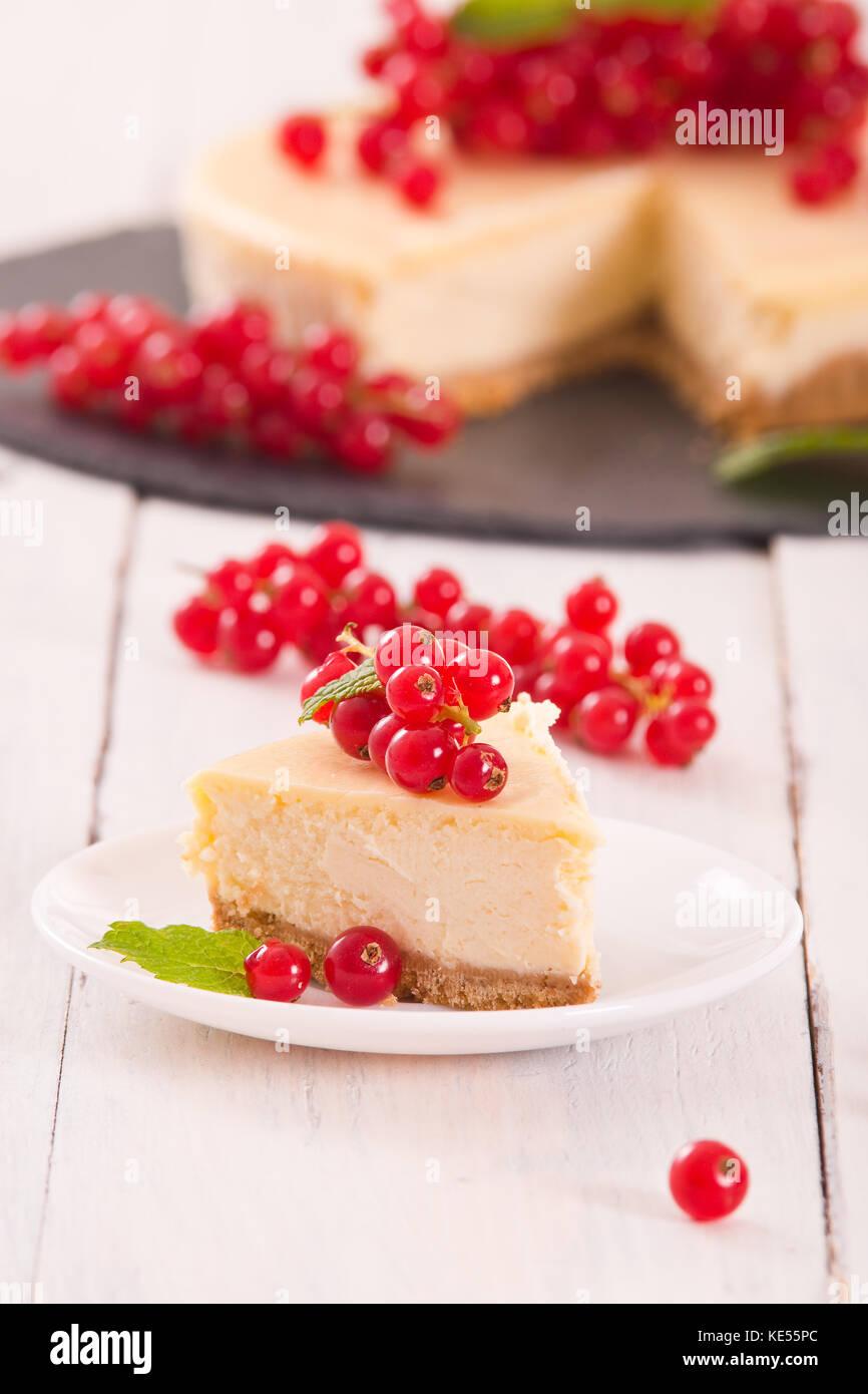Redcurrant cheesecake. Stock Photo