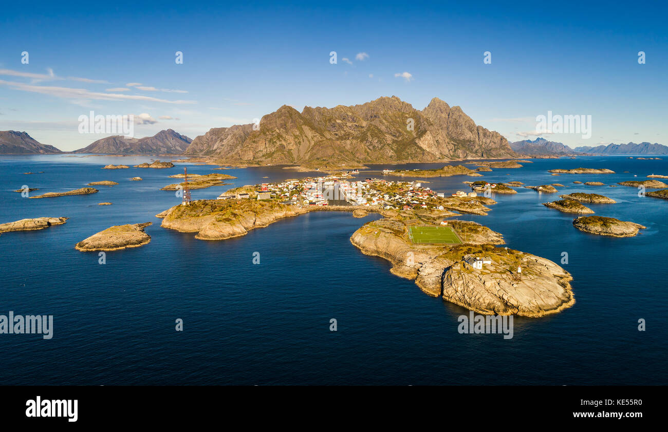 Henningsvaer fishing village on Lofoten islands from above Stock Photo