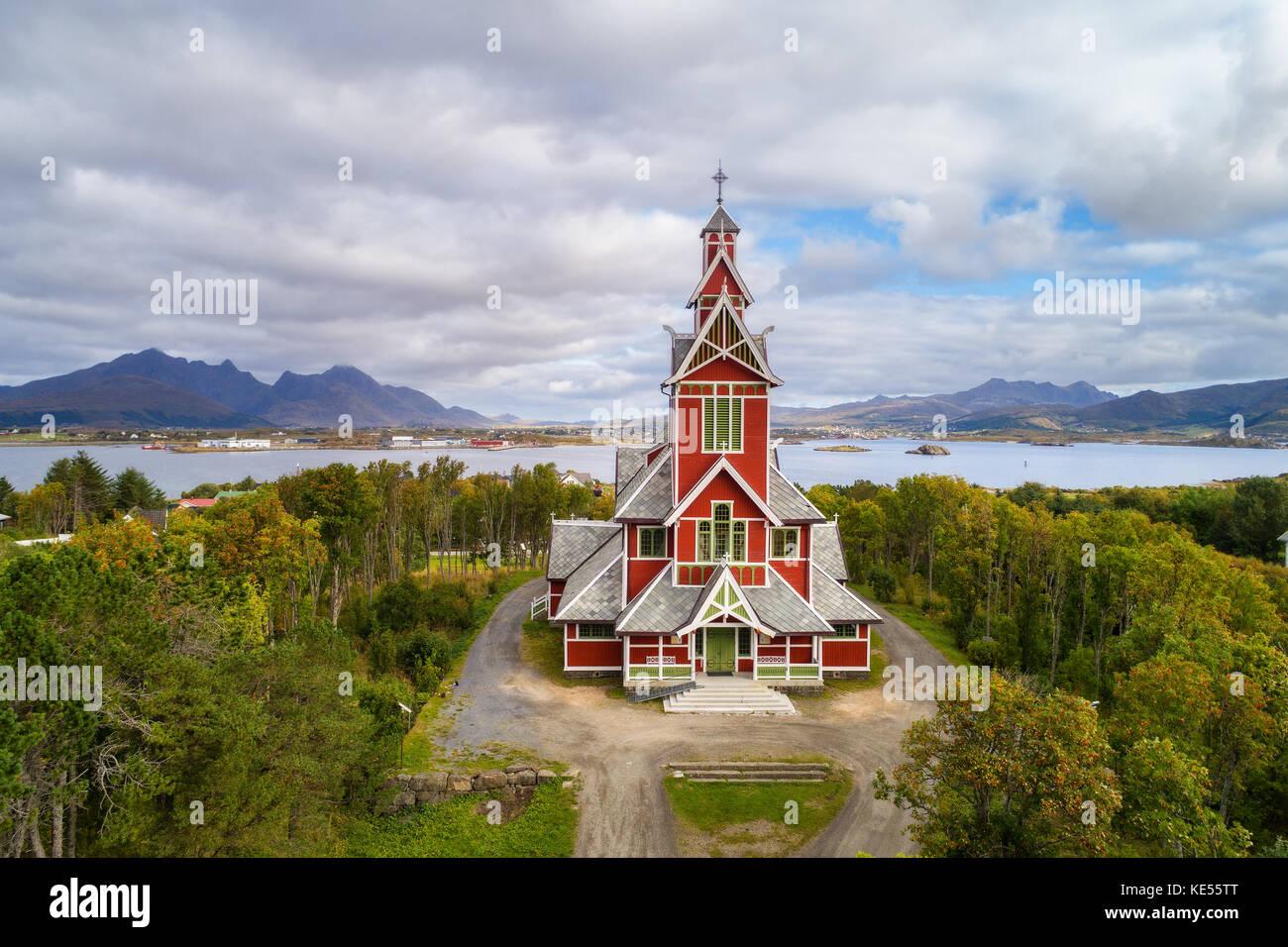 Buksnes Church in the village of Gravdal on Lofoten islands in Norway - Stock Image