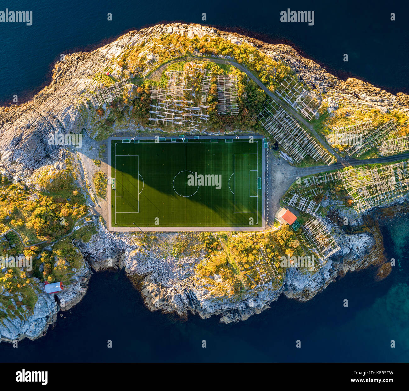 Football field in Henningsvaer from above - Stock Image