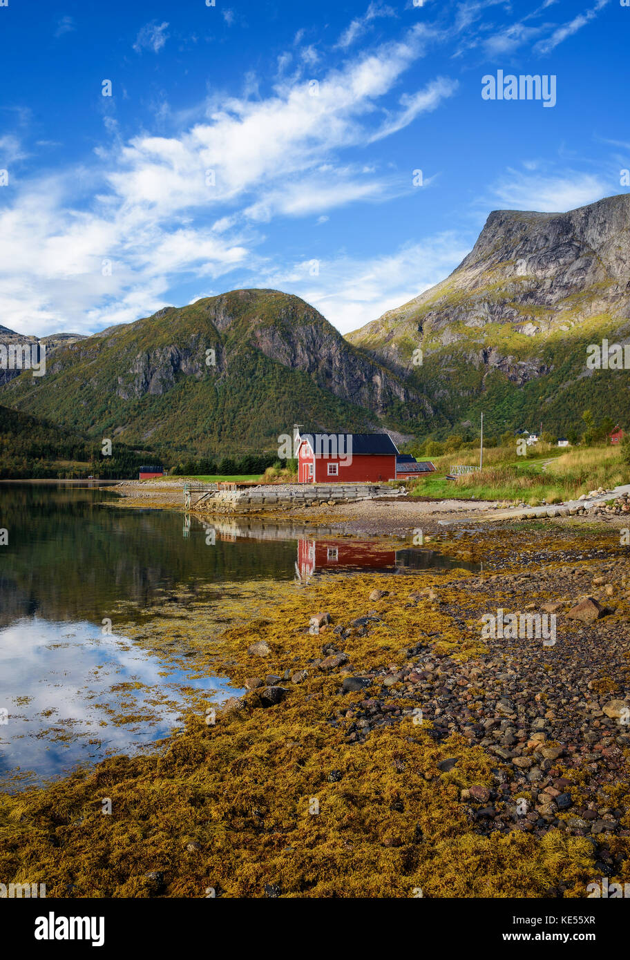 Traditional red rorbu cottages at the sea on Lofoten islands in Norway - Stock Image