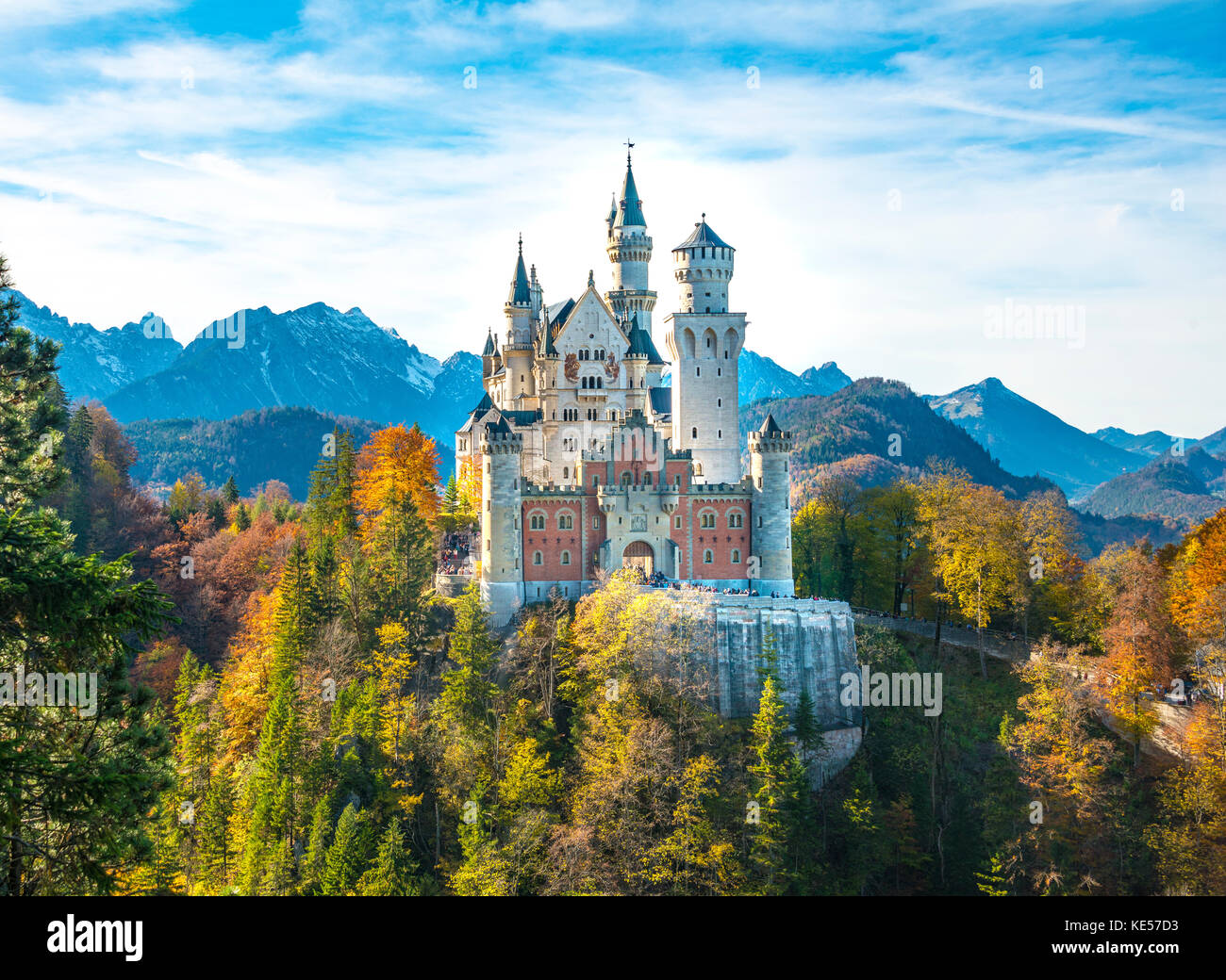 Neuschwanstein Castle in autumn, Schwangau, East Allgäu, Allgäu, Swabia, Upper Bavaria, Bavaria, Germany - Stock Image