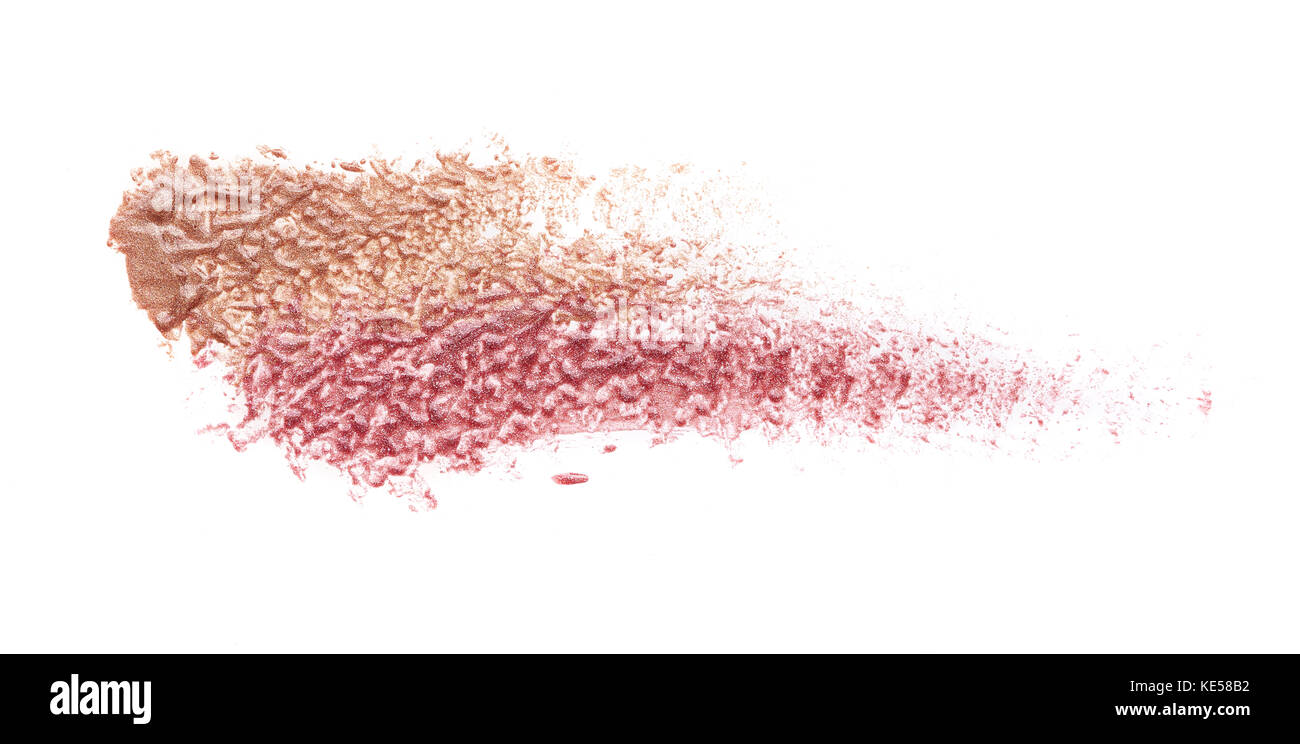 smear paint of cosmetic products on a white background - Stock Image