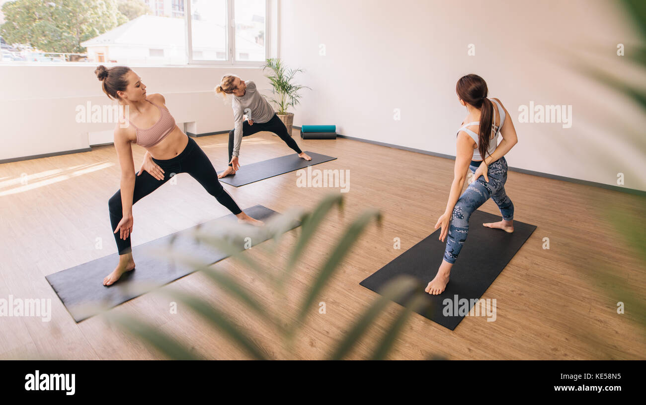 Three people practising yoga in class. Group of people standing on yoga mat stretching and twisting their body. - Stock Image