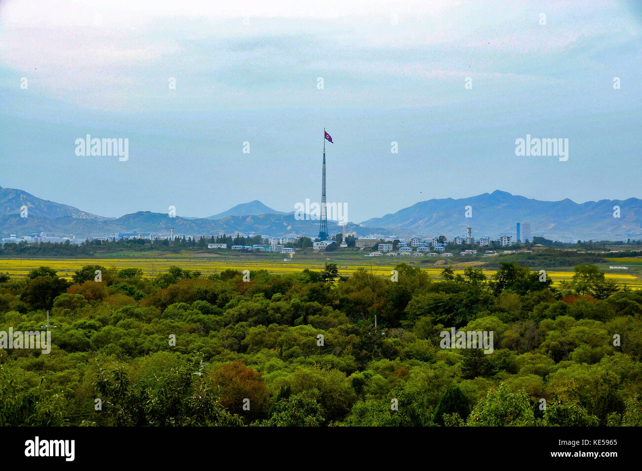 KOREA,JOINT SECURITY AEREA - September 26, 2014: View to Kijsong-dong. Is a village in North Korea. North Korea - Stock Image