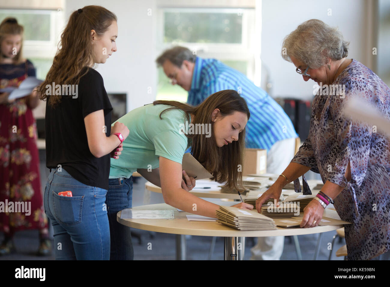 GCSE results day at Bennett Memorial School, outstanding Church of England school, Tunbridge Wells, Kent, England, - Stock Image