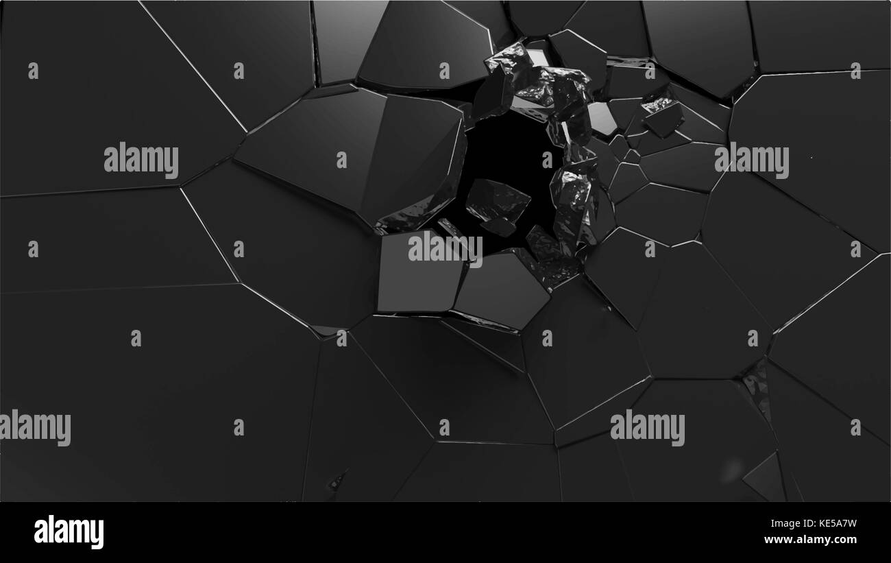 Abstract 3d rendering of shattered black surface. destructed wall. vector format - Stock Image