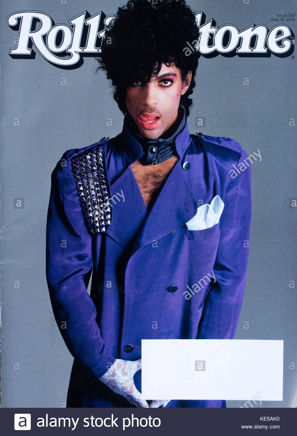 Prince on the May 19, 2016 cover of Rolling Stone Magazine in a purple jacket. Chanhassen Minnesota MN USA - Stock Image