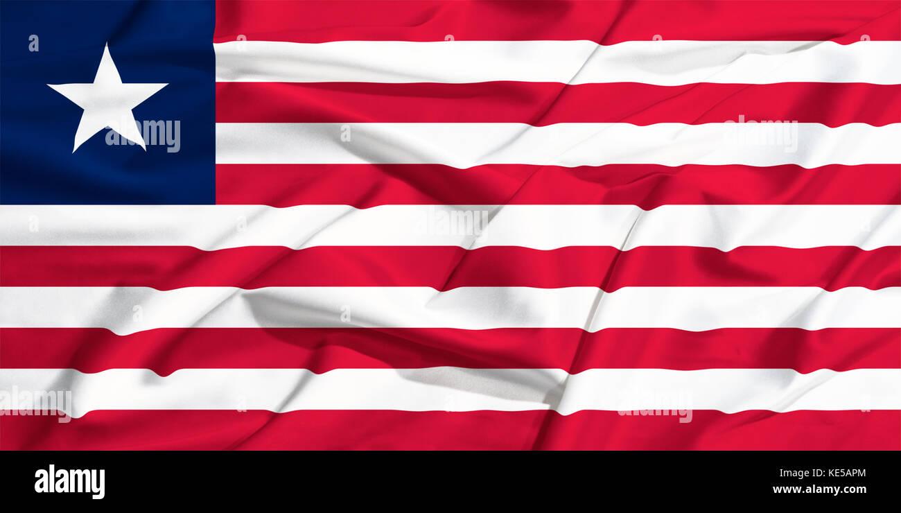 waving flag of Liberia on a silk bright drape - Stock Image