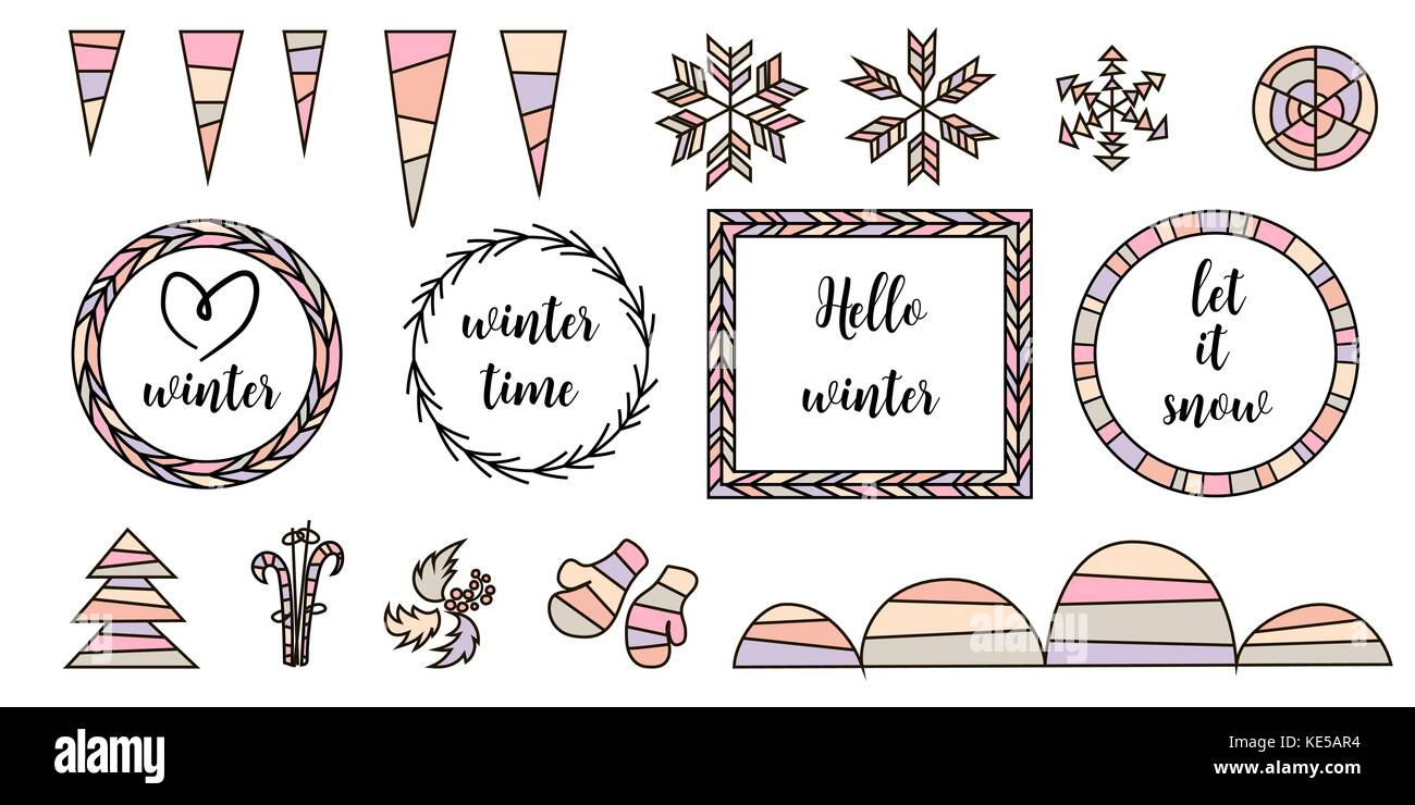 Retro vintage typographic design elements. Arrows, labels, tars, snowflakes, icicles, frame, snowbanks - Stock Image
