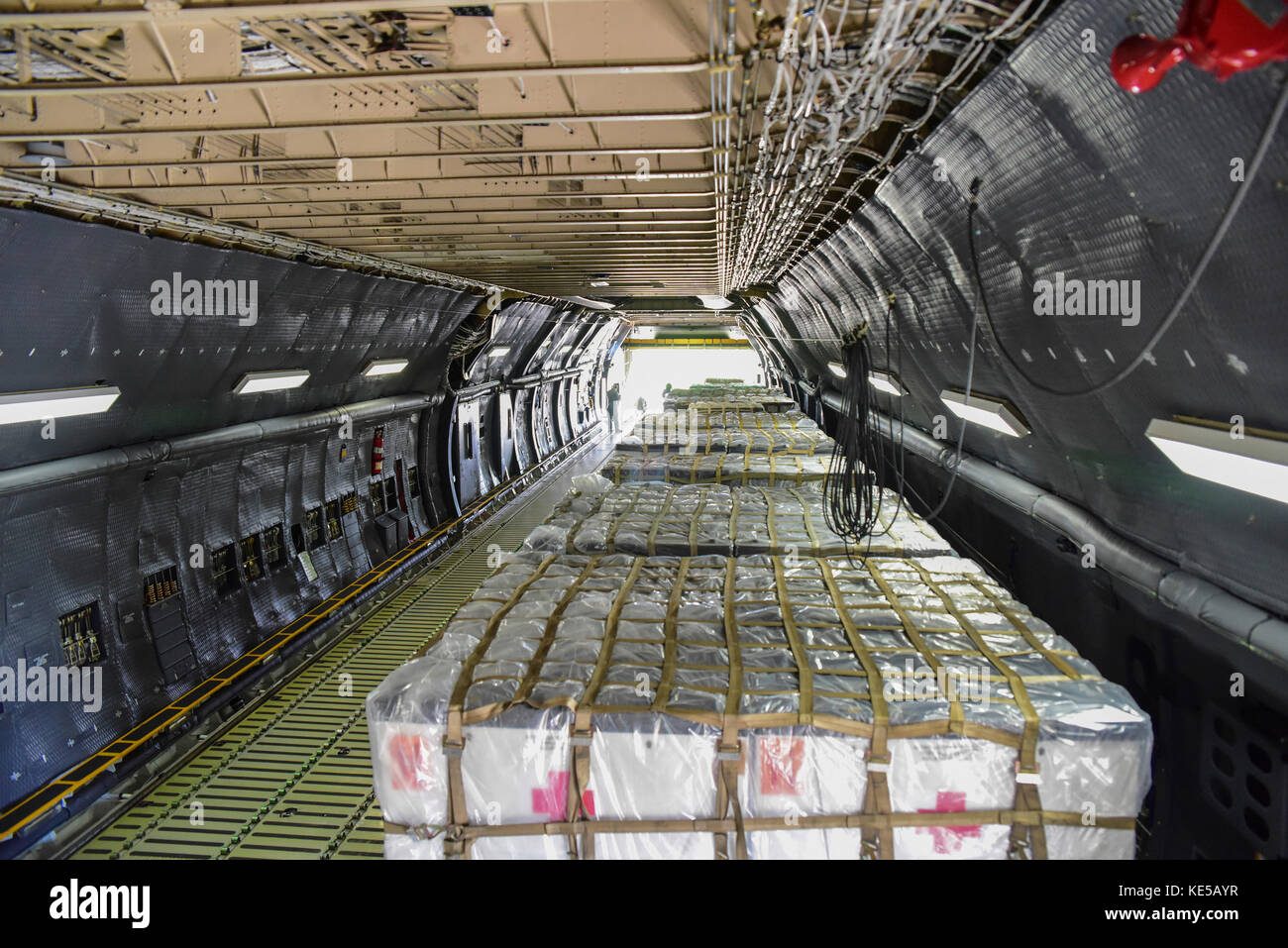 Pallets of supplies ready to be delivered to Texas in support of Hurricane Harvey relief efforts. - Stock Image