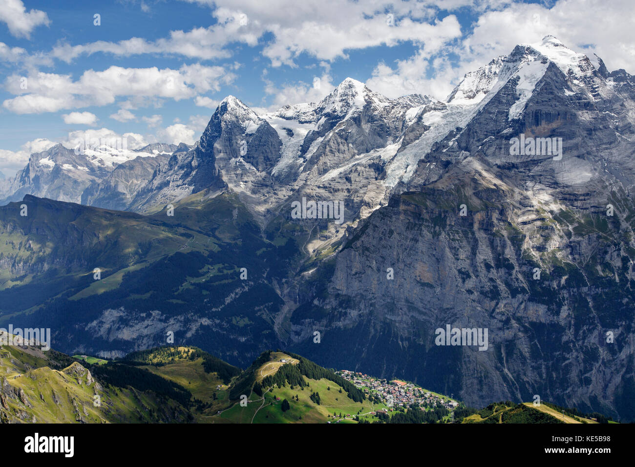 View across the Lauterbrunnen Valley to the Eiger, Mönch, Jungfrau and the village of Mürren from the Schilthorn Stock Photo