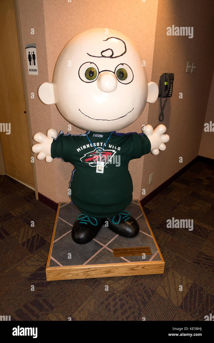 Charles Schulz's  'Here's looking at you Charlie Brown' wearing Minnesota Wild Hockey uniform at - Stock Image