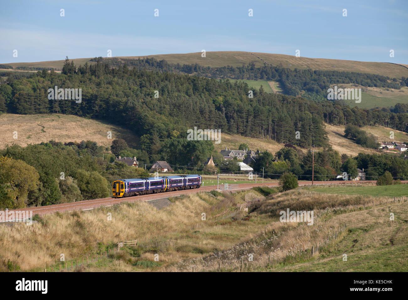 The 1511 Edinburgh - Tweedbank Scotrail train arrives at Stow on the borders railway line - Stock Image