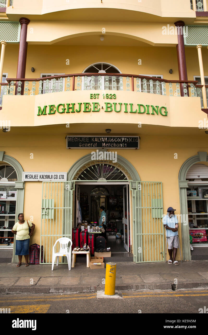 The Seychelles, Mahe, Victoria, Market Street,  Meghjee Kalyanji Building, Indian owned General Merchant shop - Stock Image