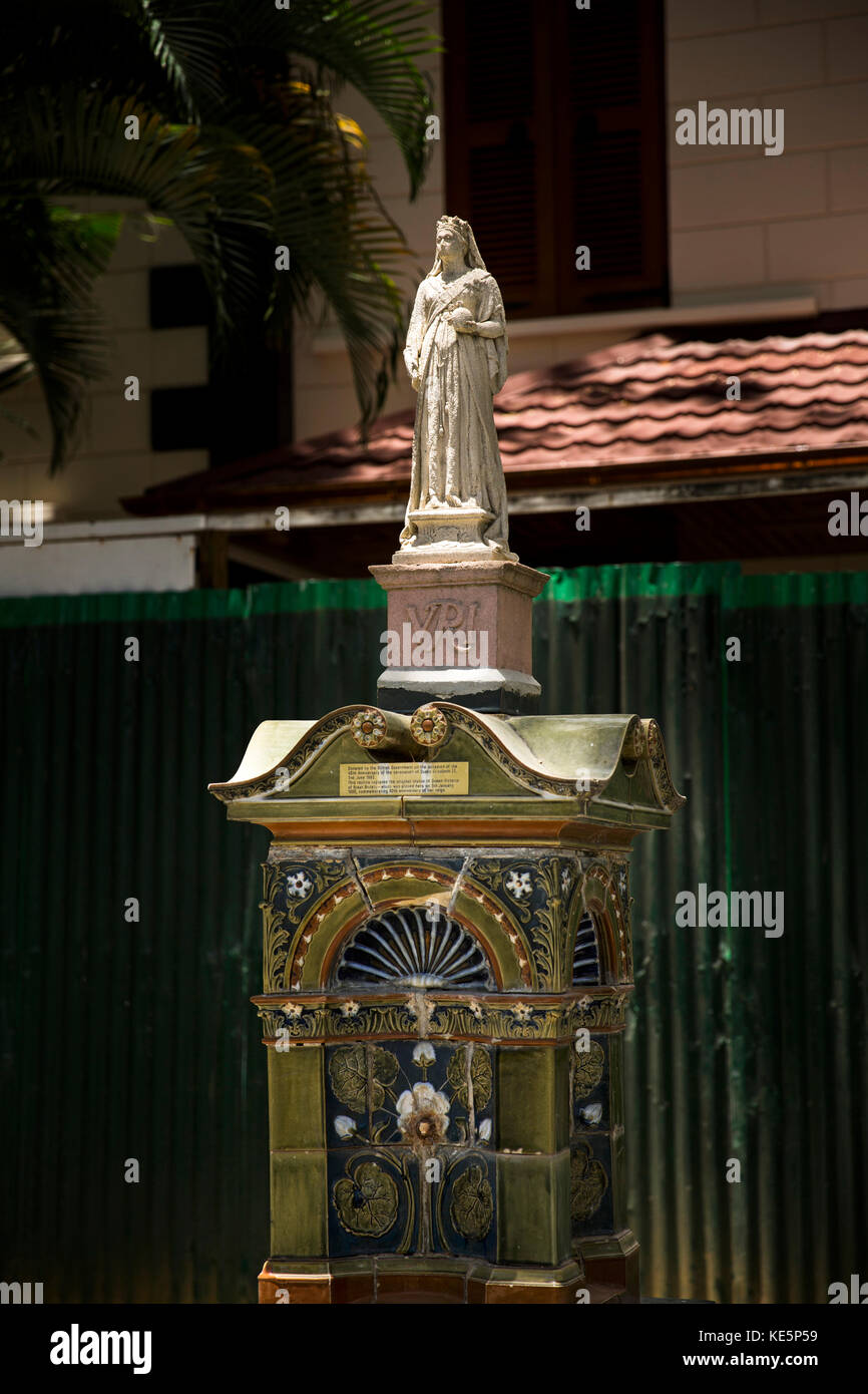 The Seychelles, Mahe, Victoria, Independence Avenue, Queen Victoria Diamond Jubilee Fountain - Stock Image