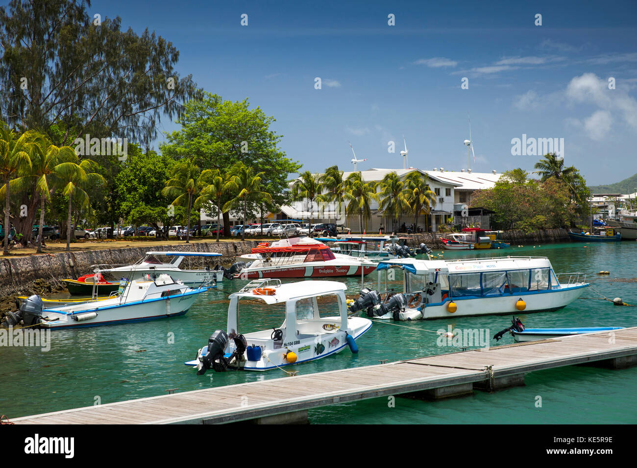 The Seychelles, Mahe, Victoria, Marine Charter Quay, leisure boats - Stock Image